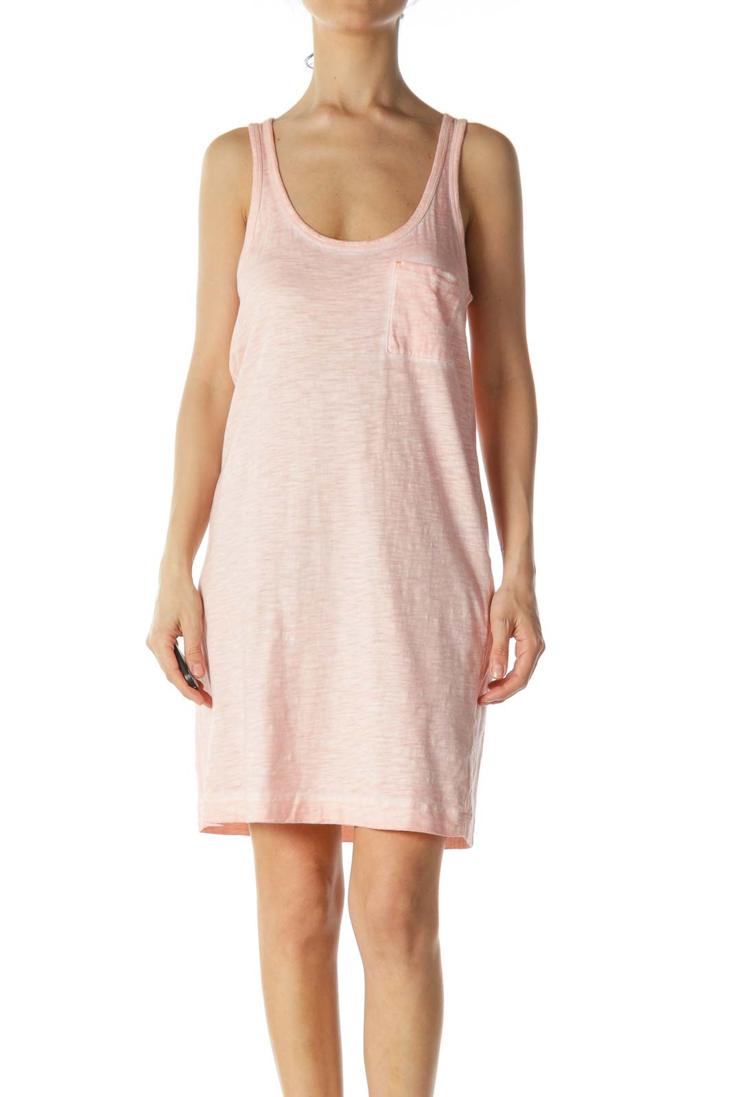 Salmon Pink Pocketed Jersey-Knit Day Dress