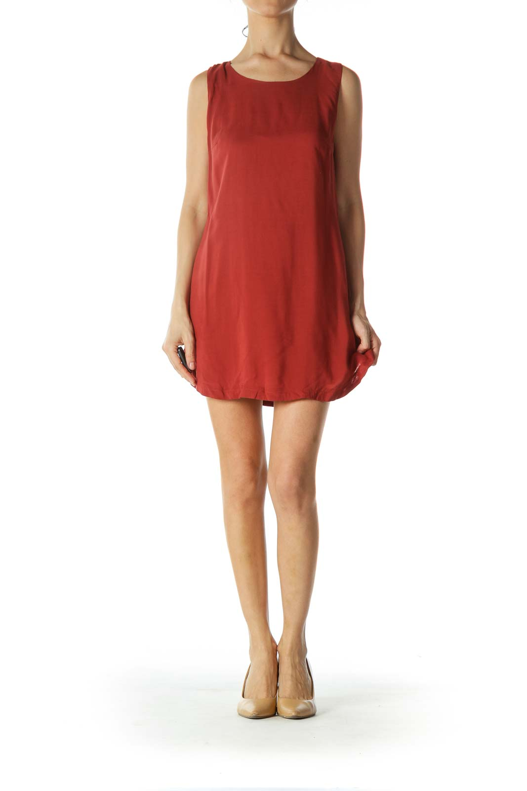 Brick Red Open Side A-Line Day Dress