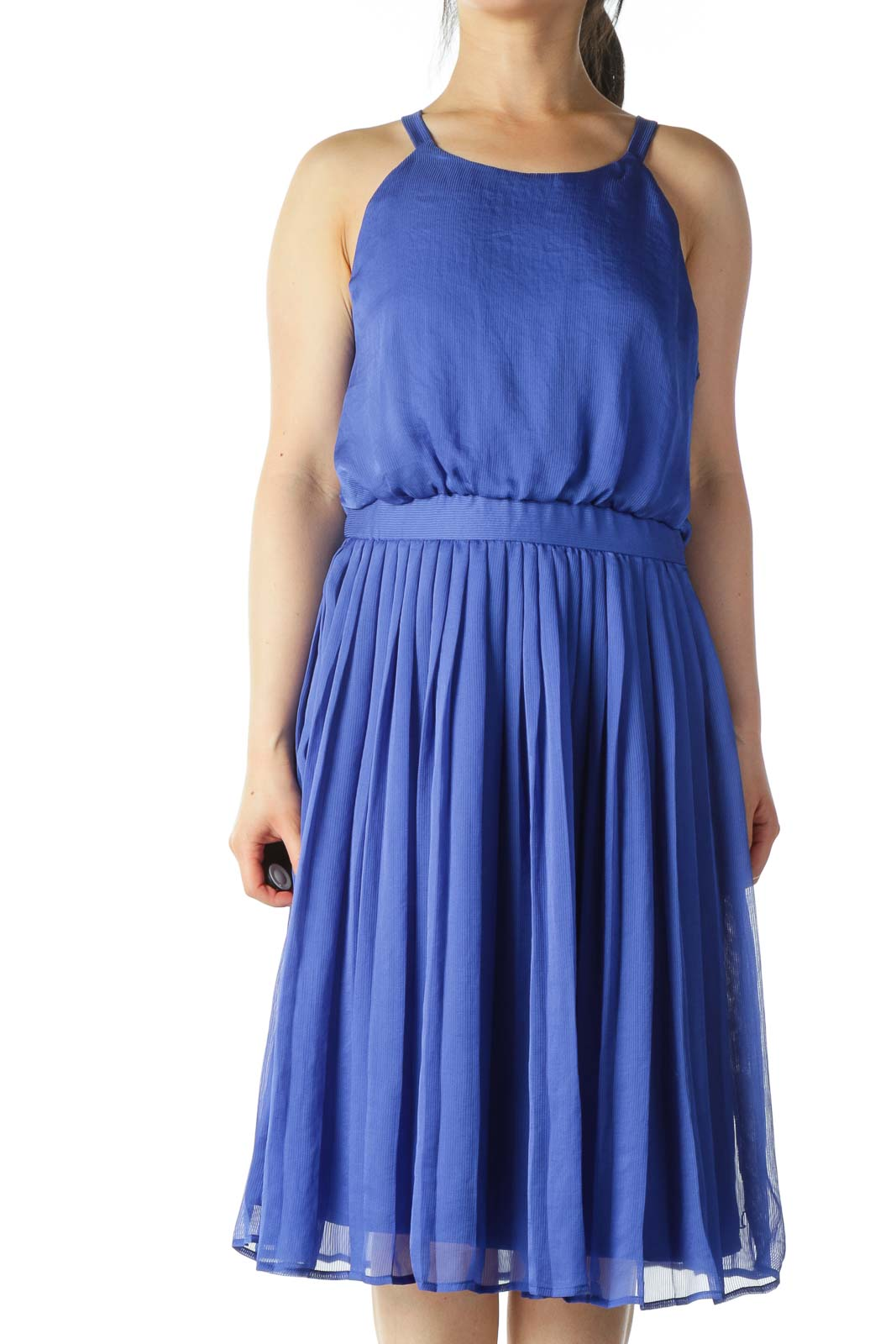 Electric Blue Pleated Textured A-Line Dress