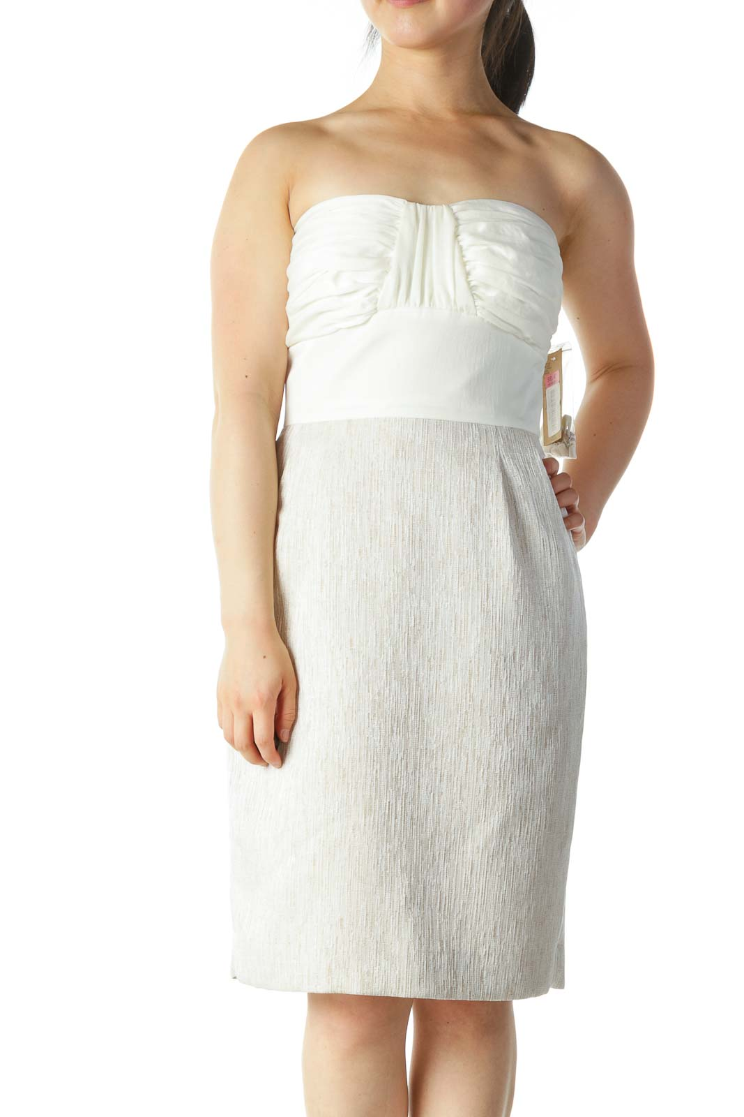 Cream Beige Strapless Textured Cocktail Dress
