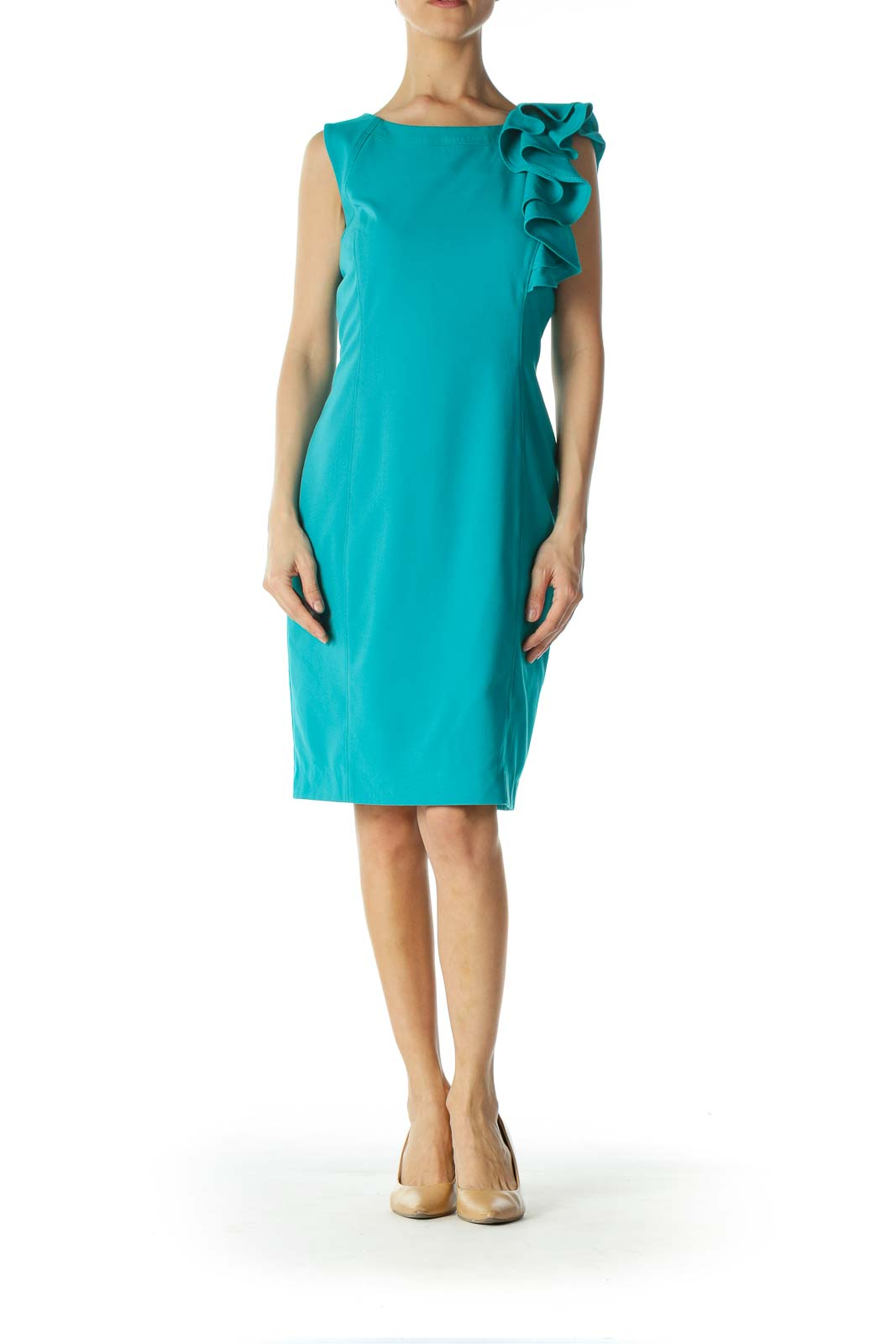 Teal Blue Front Ruffle Accent Work Dress