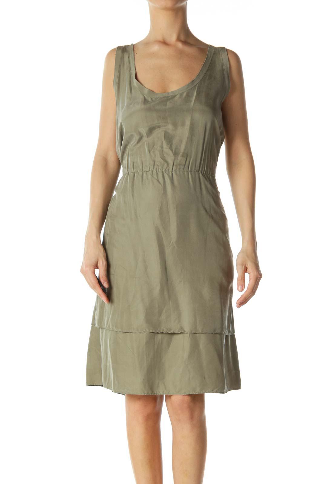 Olive Green Scrunched Waistline Light Flared Dress