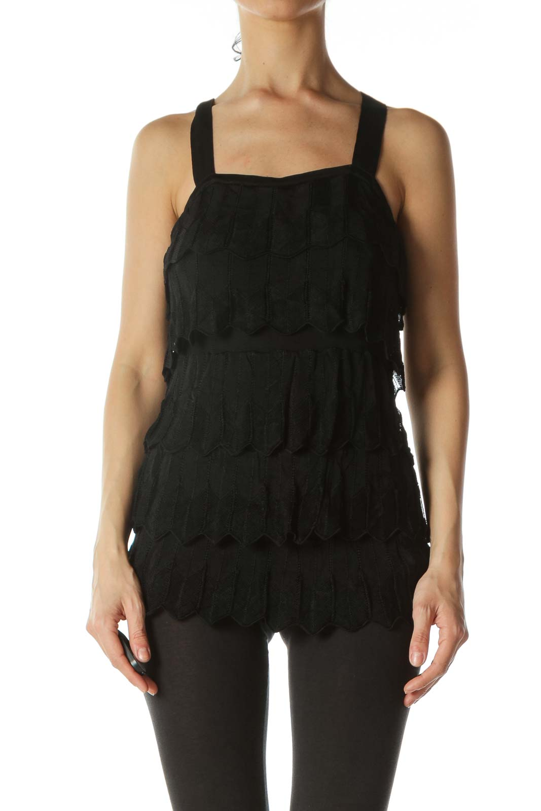 Black Layered Lace Strap Knit Dress
