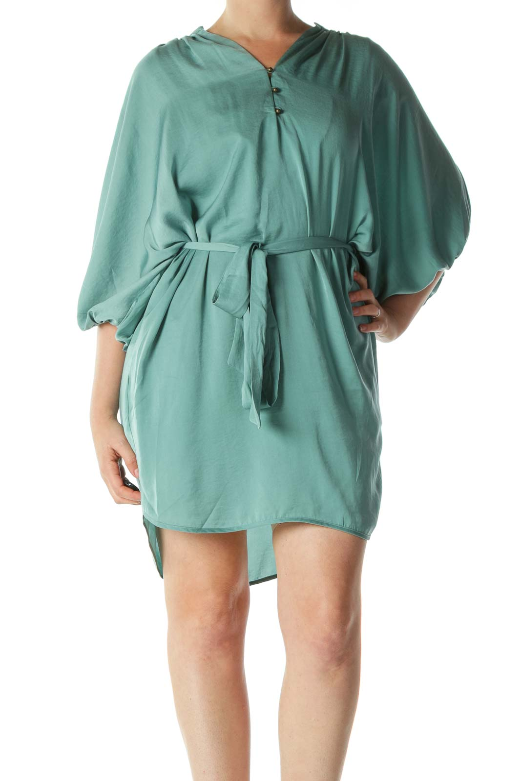 Cool Green Metallic Buttons Belted Day Dress