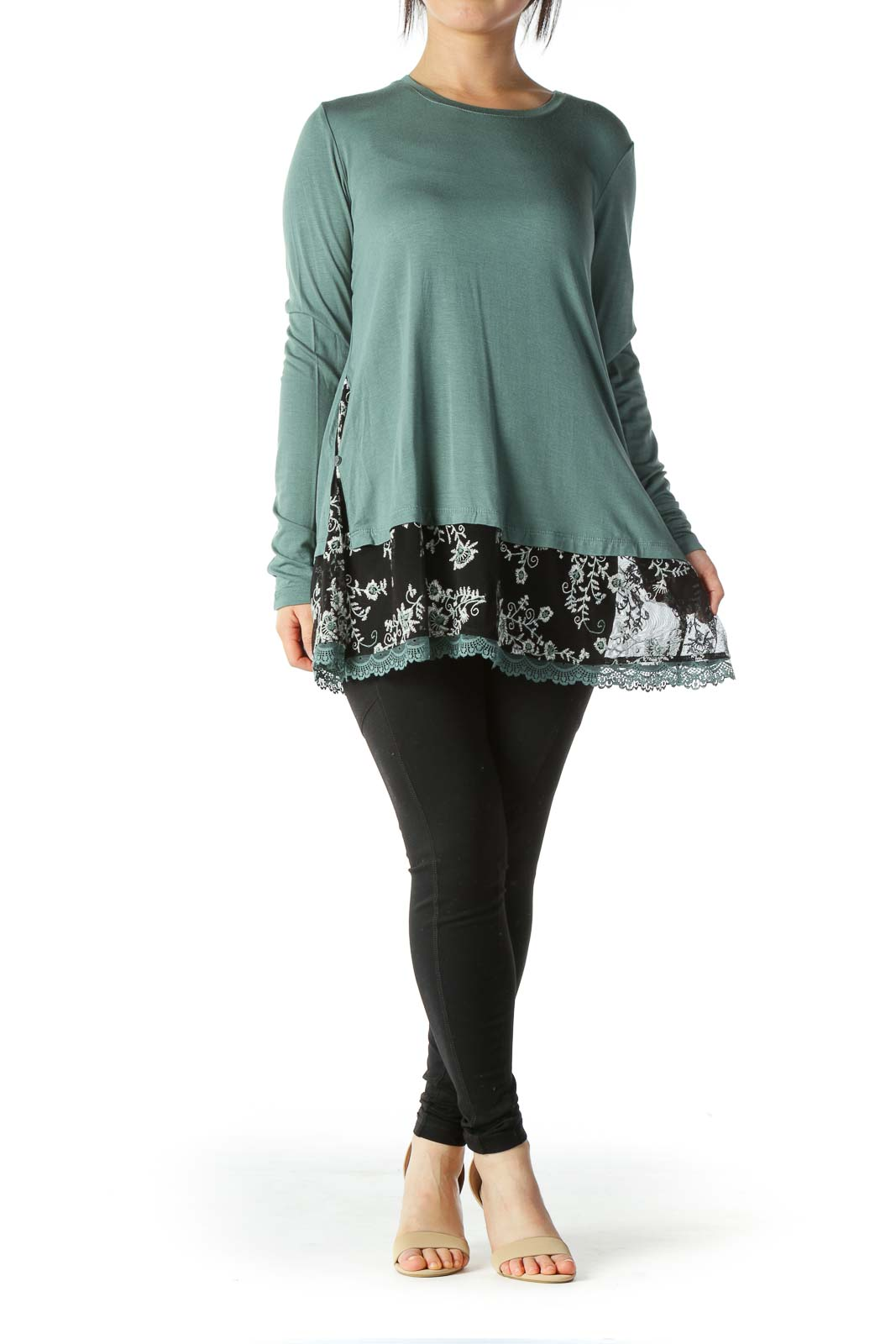 Turquoise Floral Embroidered Long Sleeve Top