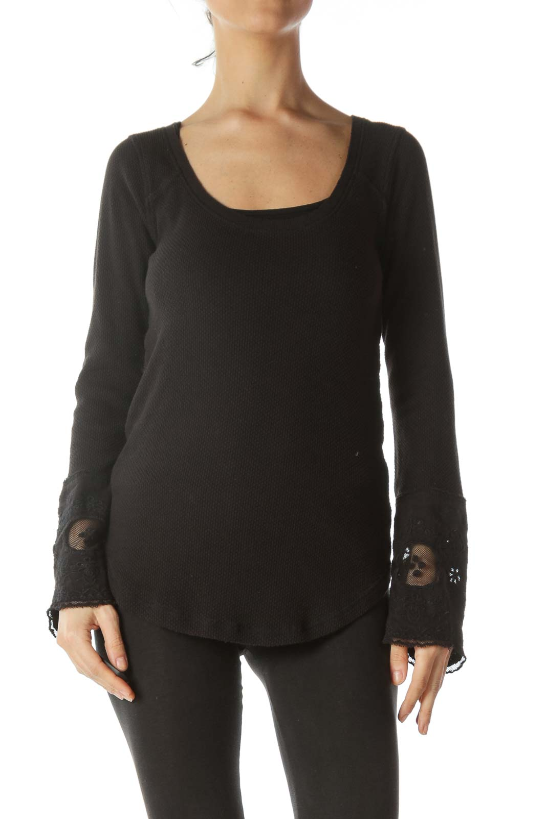 Black Knit Mixed Media laced Sleeve Top