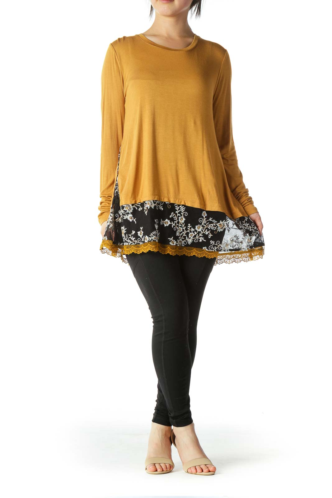 Mustard Black Mixed Media Floral Embroidery Top