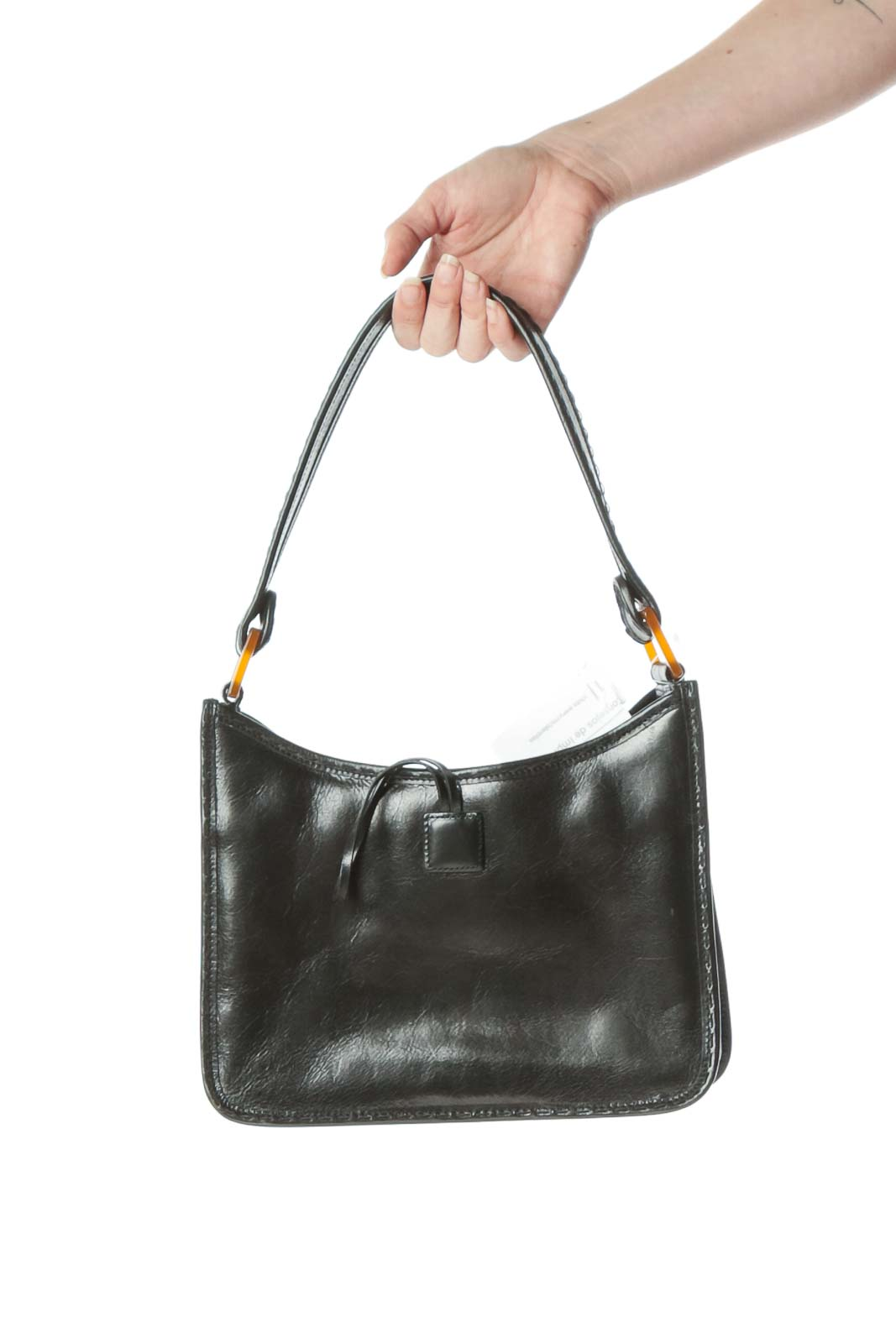 Black Leather Toggle Closure Detail Shoulder Bag