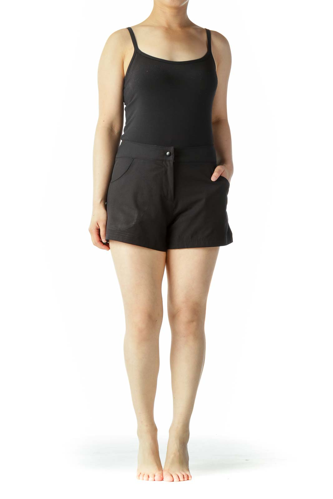 Black Pocketed Stretch Sports Shorts