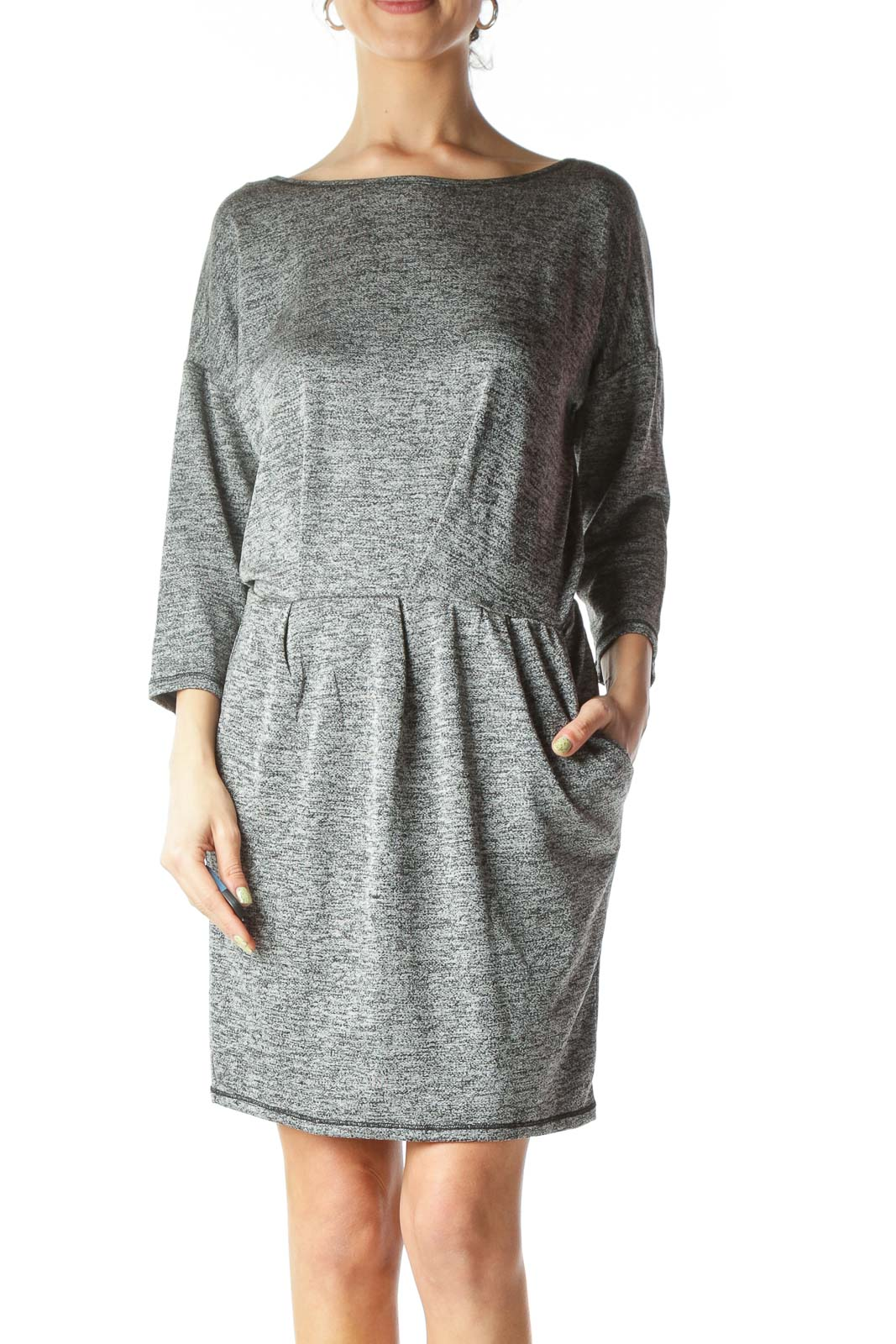 Gray Textured Stretch Pocketed Work Dress
