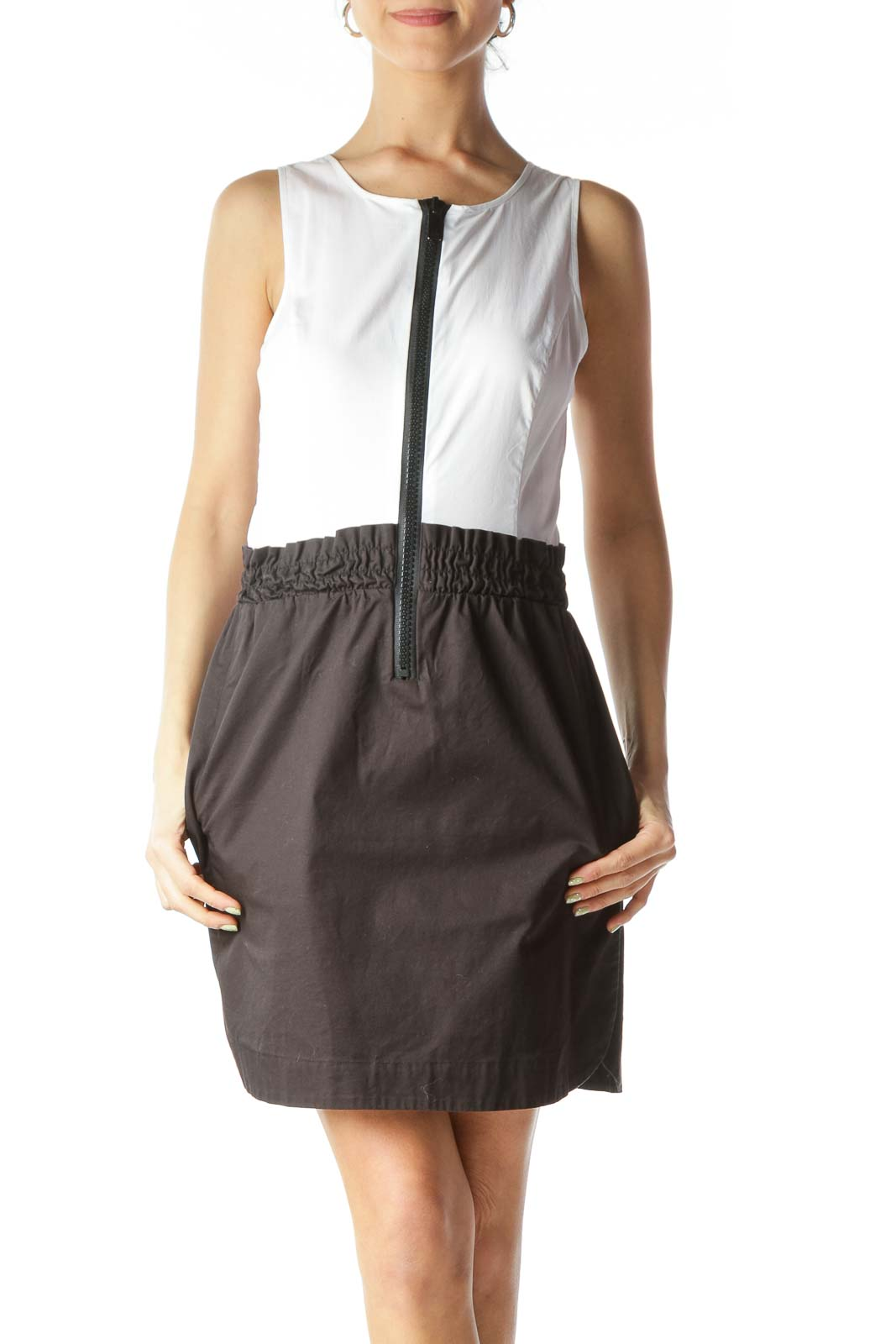 White Black Zipper Accent Pocketed Day Dress