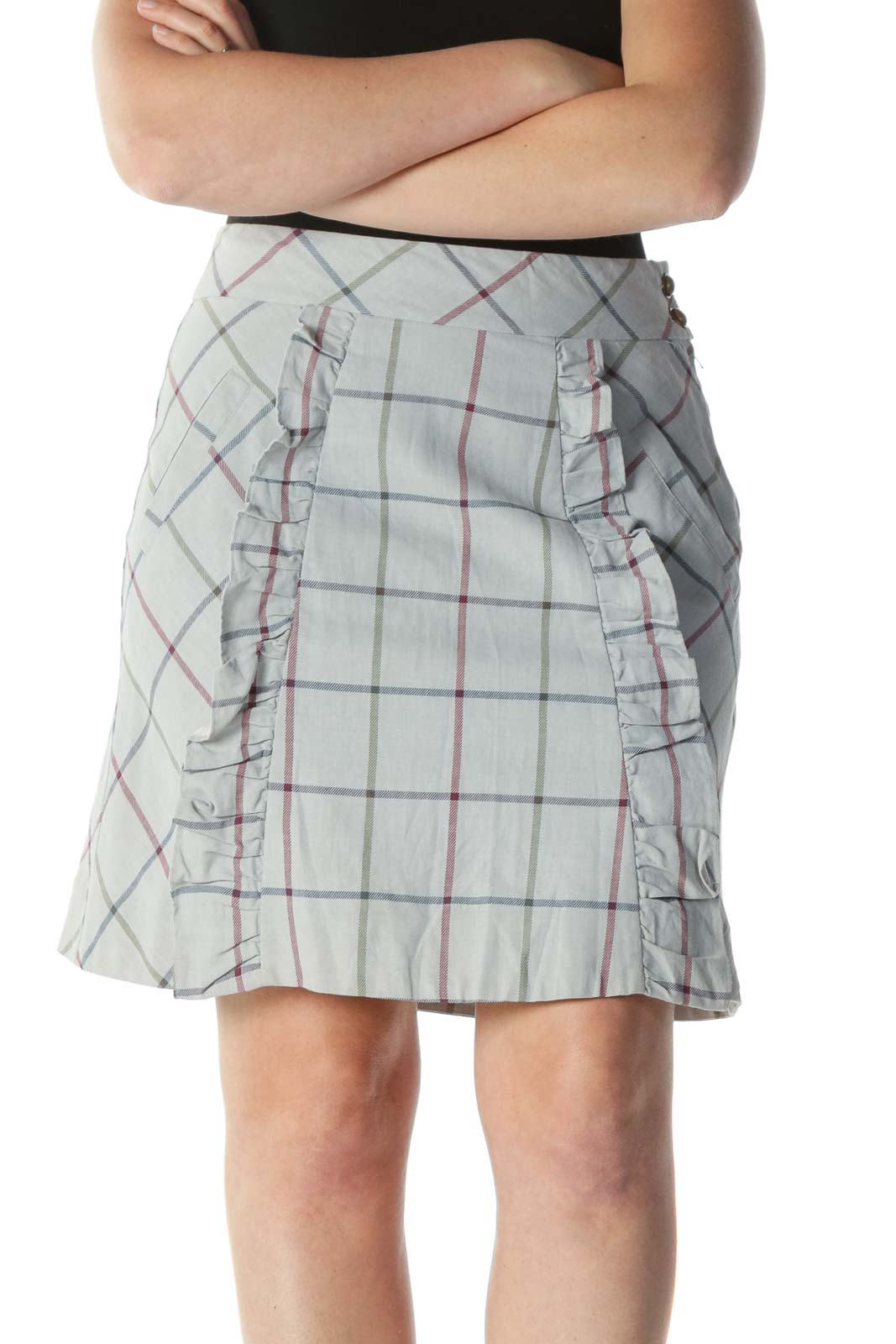 Gray Multicolor Plaid Ruffled A-Line Skirt