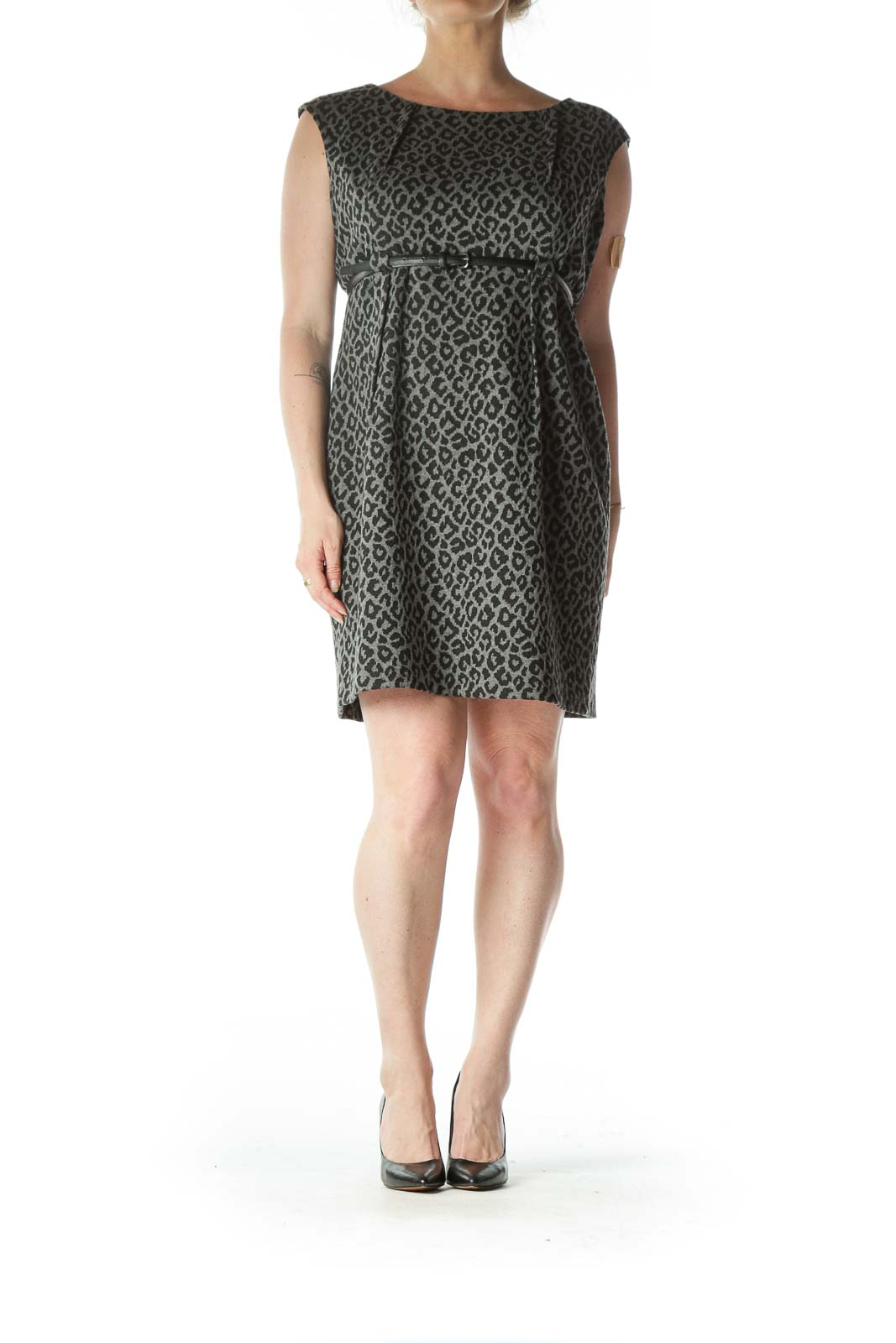 Gray Black Leopard Print Textured Belted Work Dress