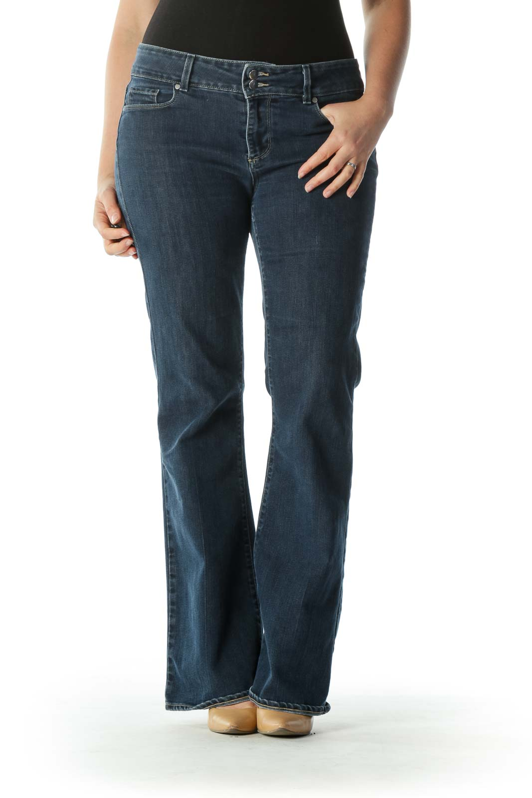 Blue Dark Wash Denim Flared Jeans
