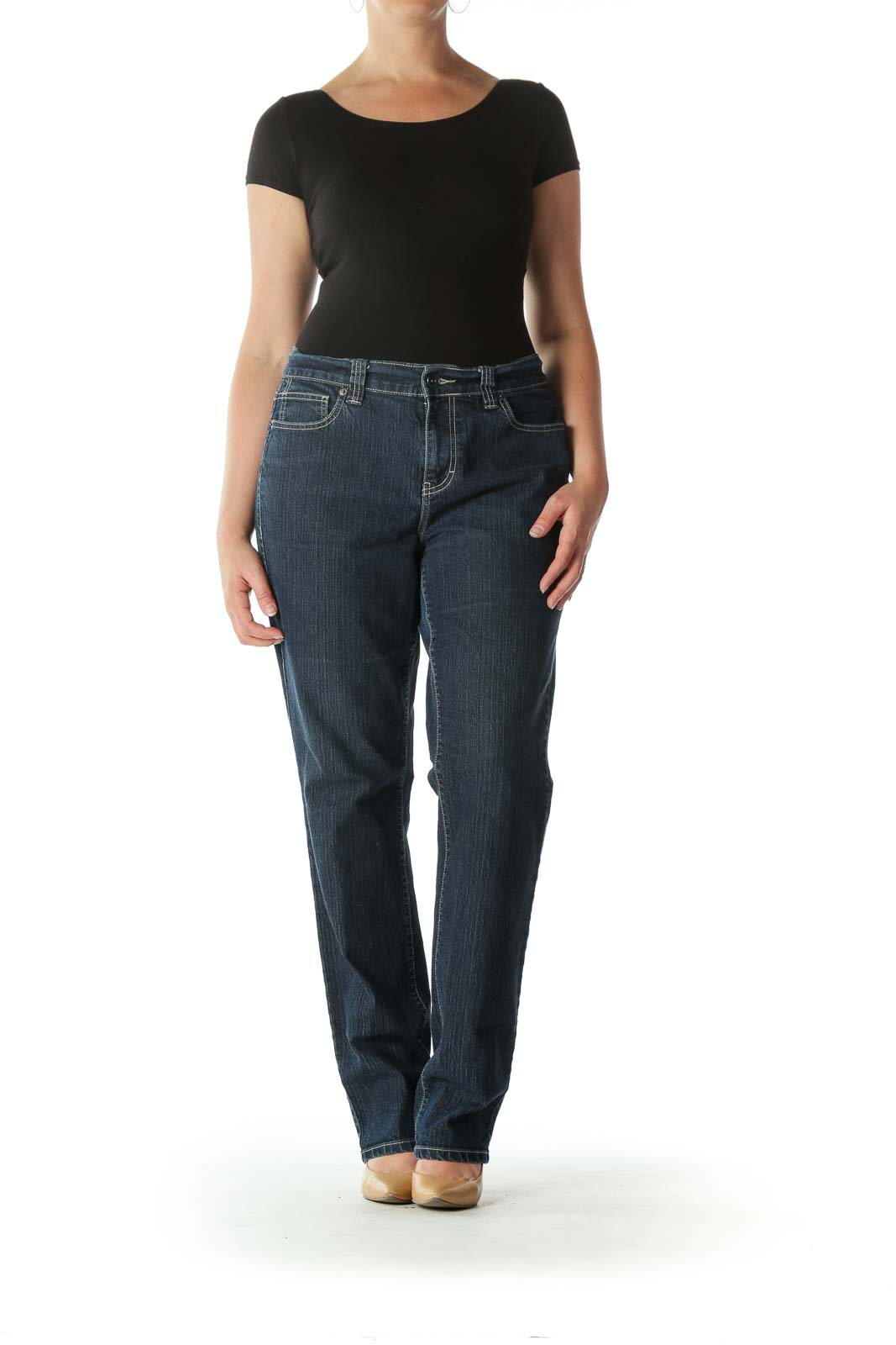 Blue Dark-Wash Stretch Skinny Denim Jeans