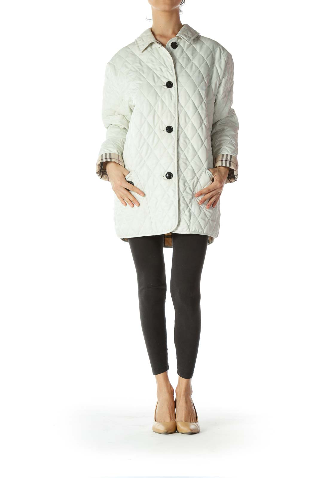 White Quilted Designer Buttoned Coat