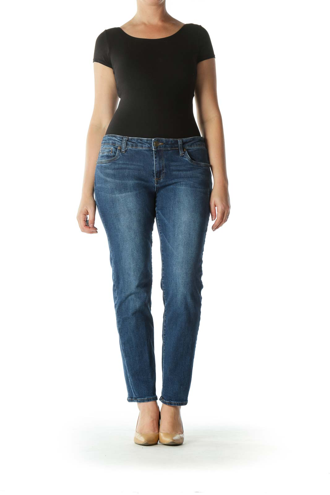 Blue Medium Washed Denim Skinny Jeans