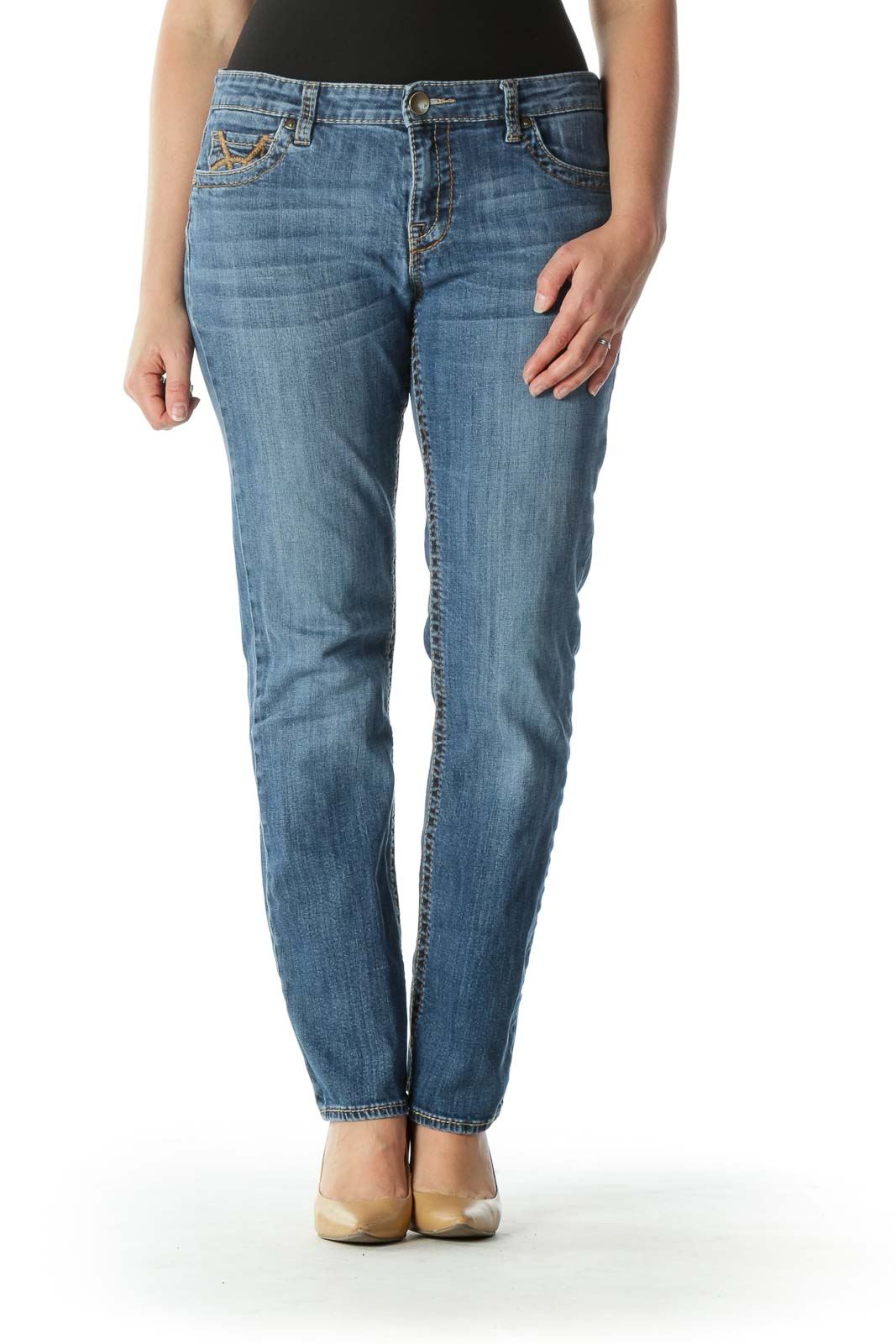 Blue Medium Wash Denim Skinny Jeans