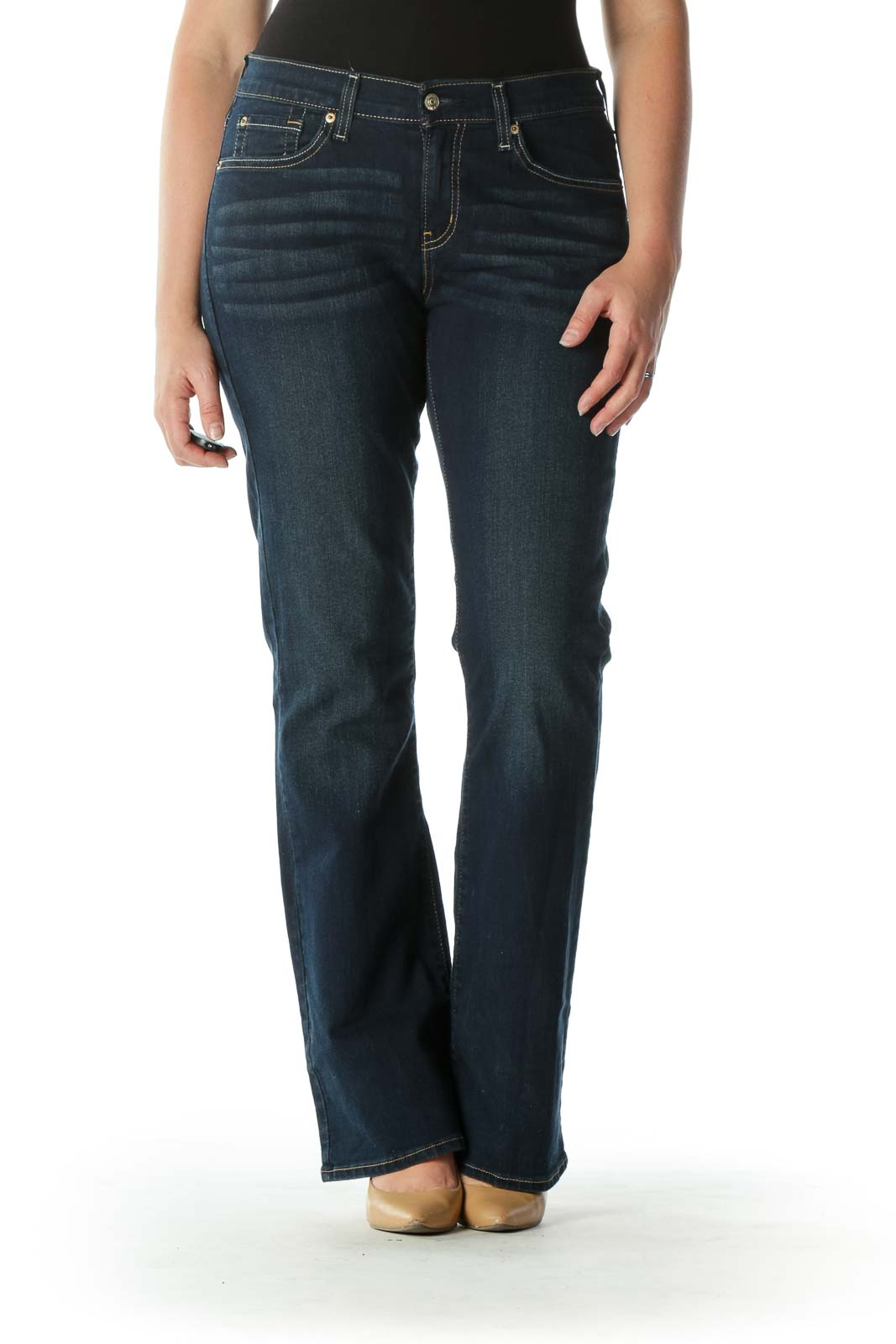 Blue Dark-Wash Bootcut Denim Jeans