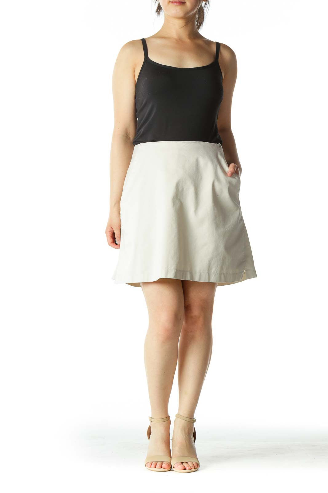 Beige Tennis Skirt with Shorts