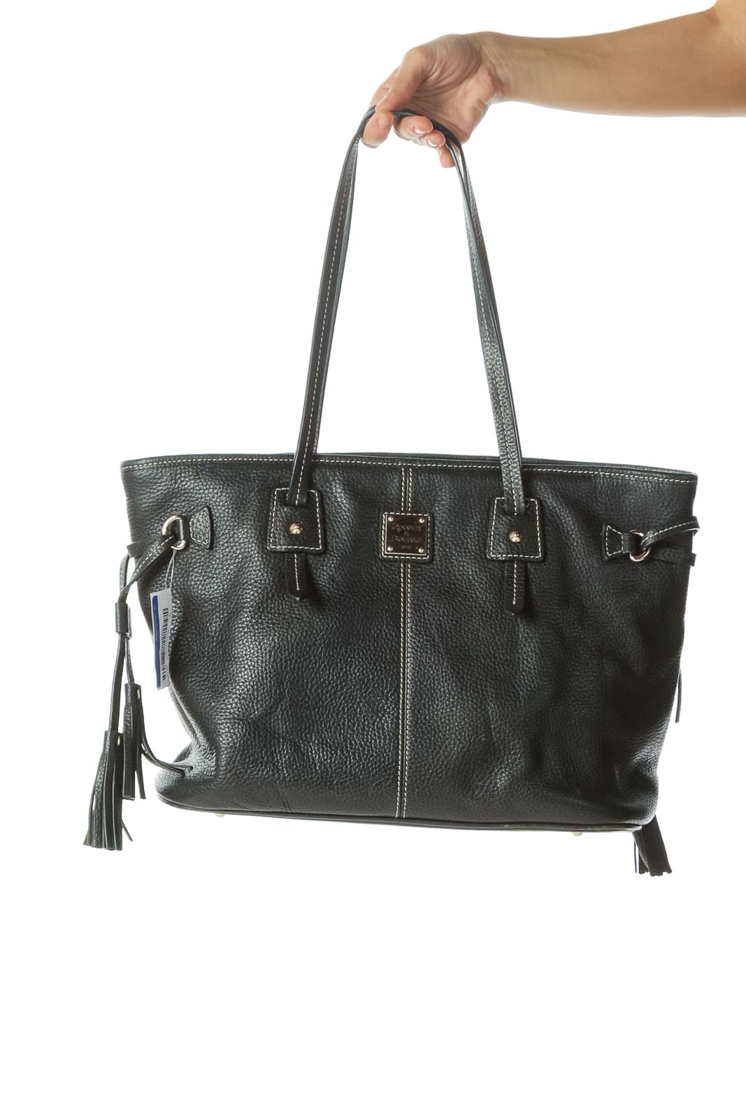 Black Gold Hardware Stitched Tote with Tassels