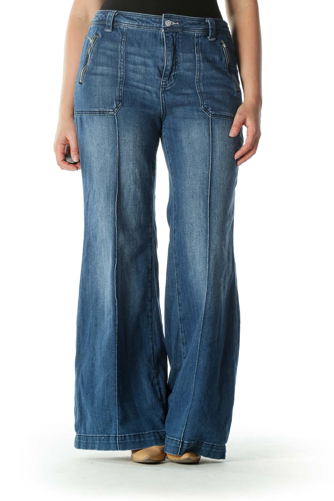 Blue Medium Wash Raised Seam Denim Jeans