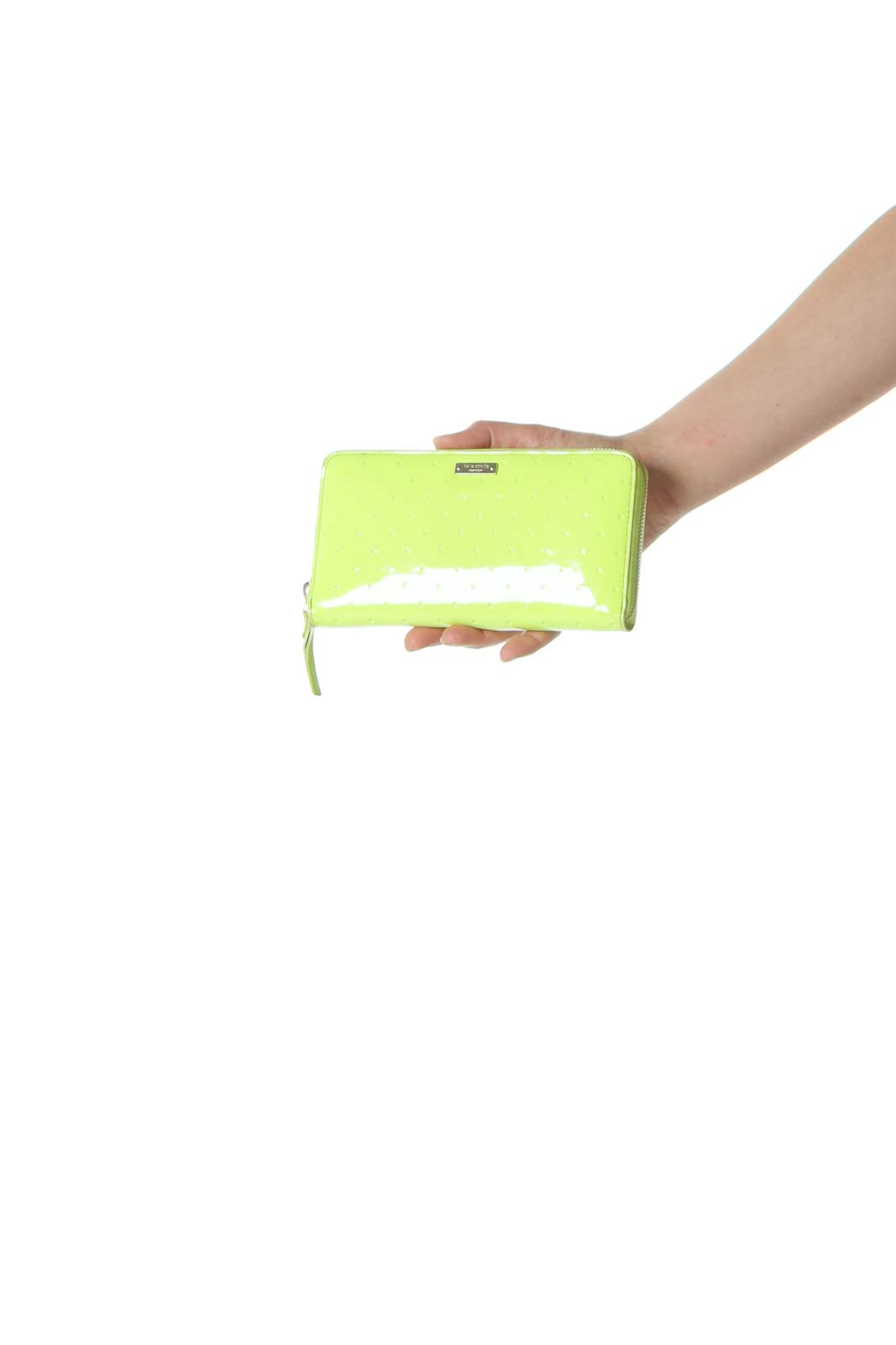 Lime Green Designer Engraved Polka-Dot Print Wallet