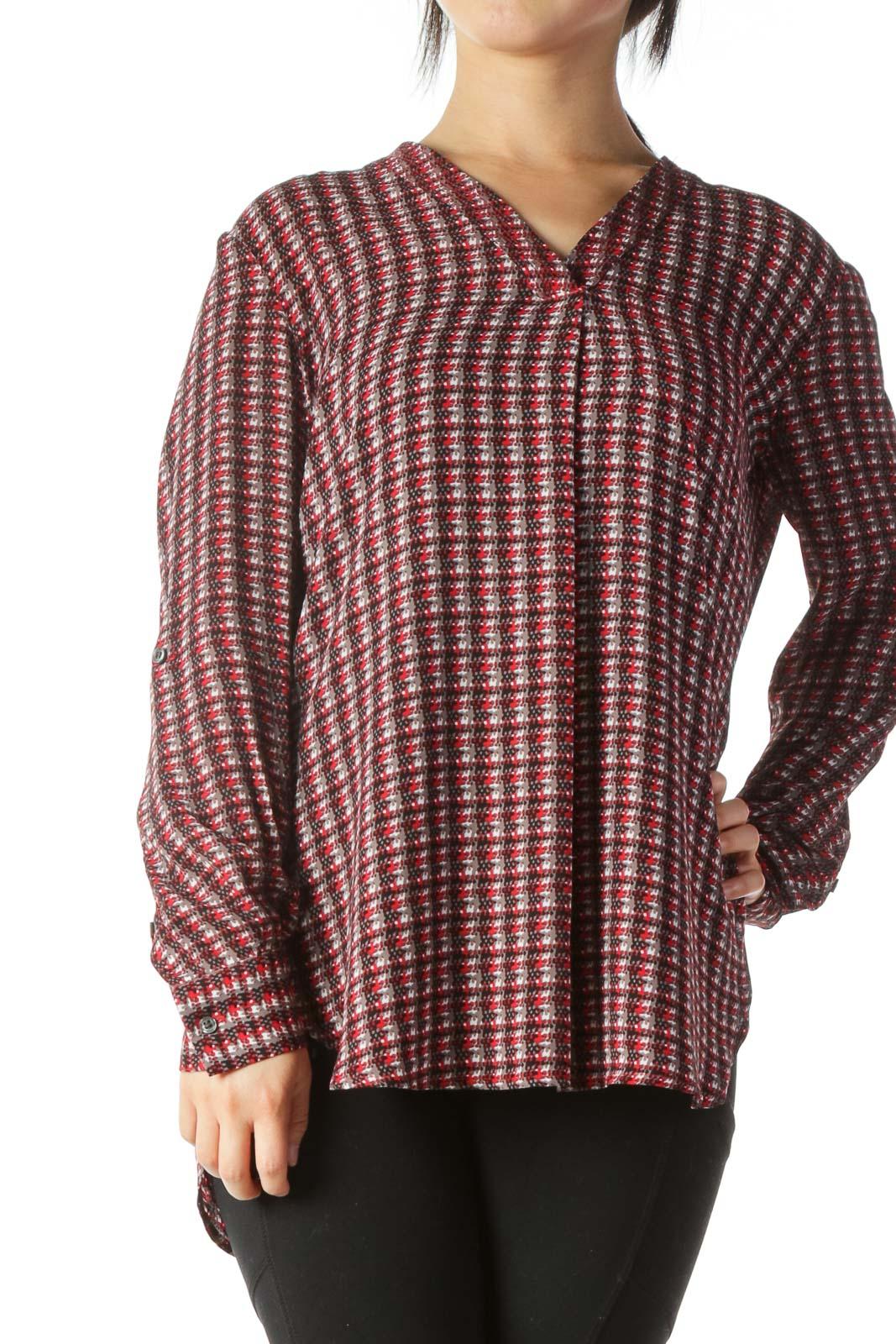 Multicolor Printed V-Neck Long-Sleeve Shirt