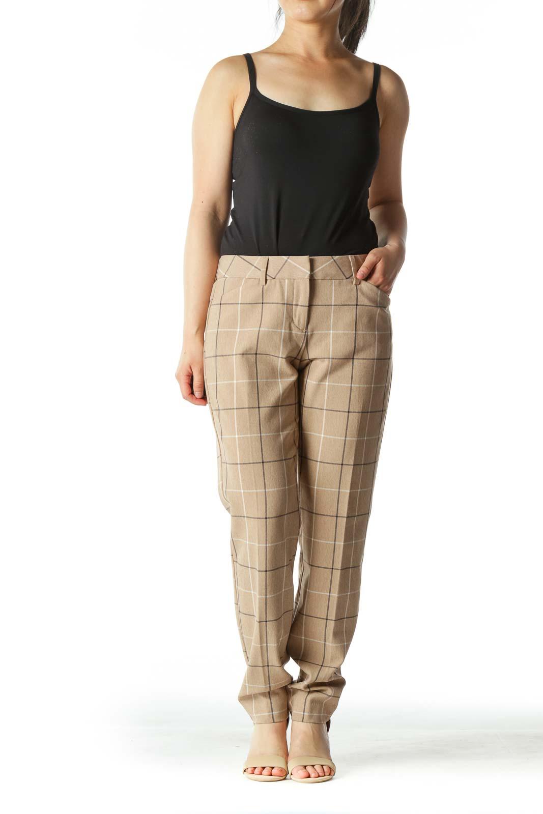 Beige Windowpane Straight Leg Pants