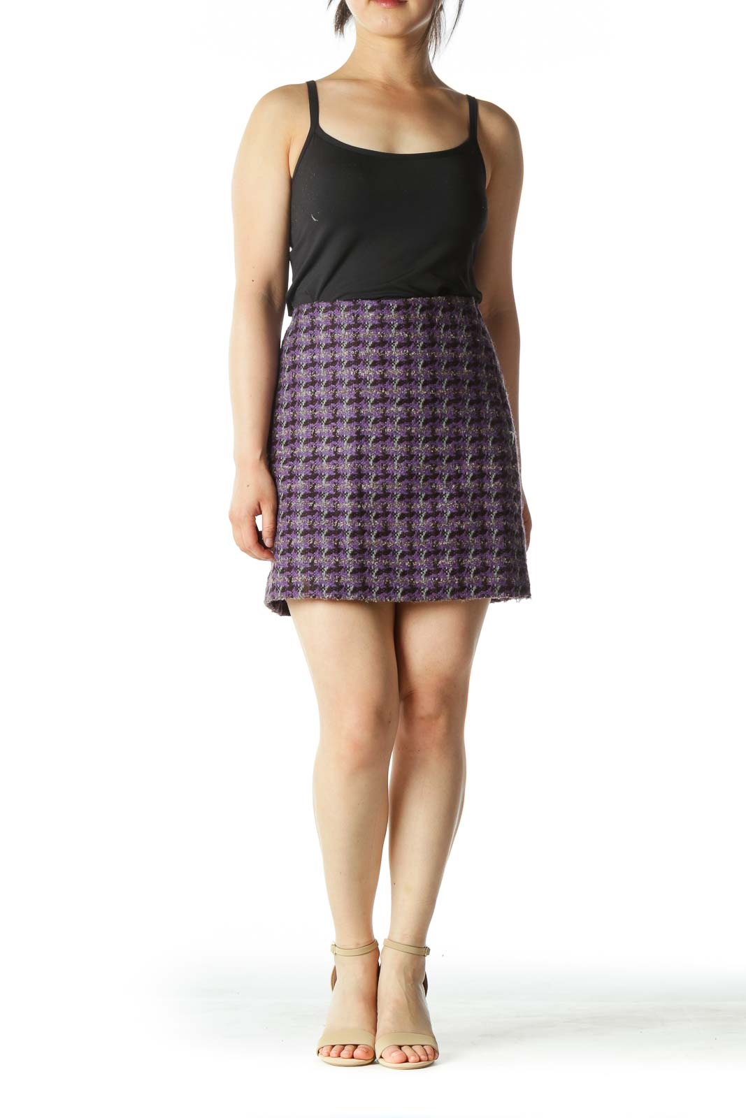 Purple Houndstooth Mini Skirt