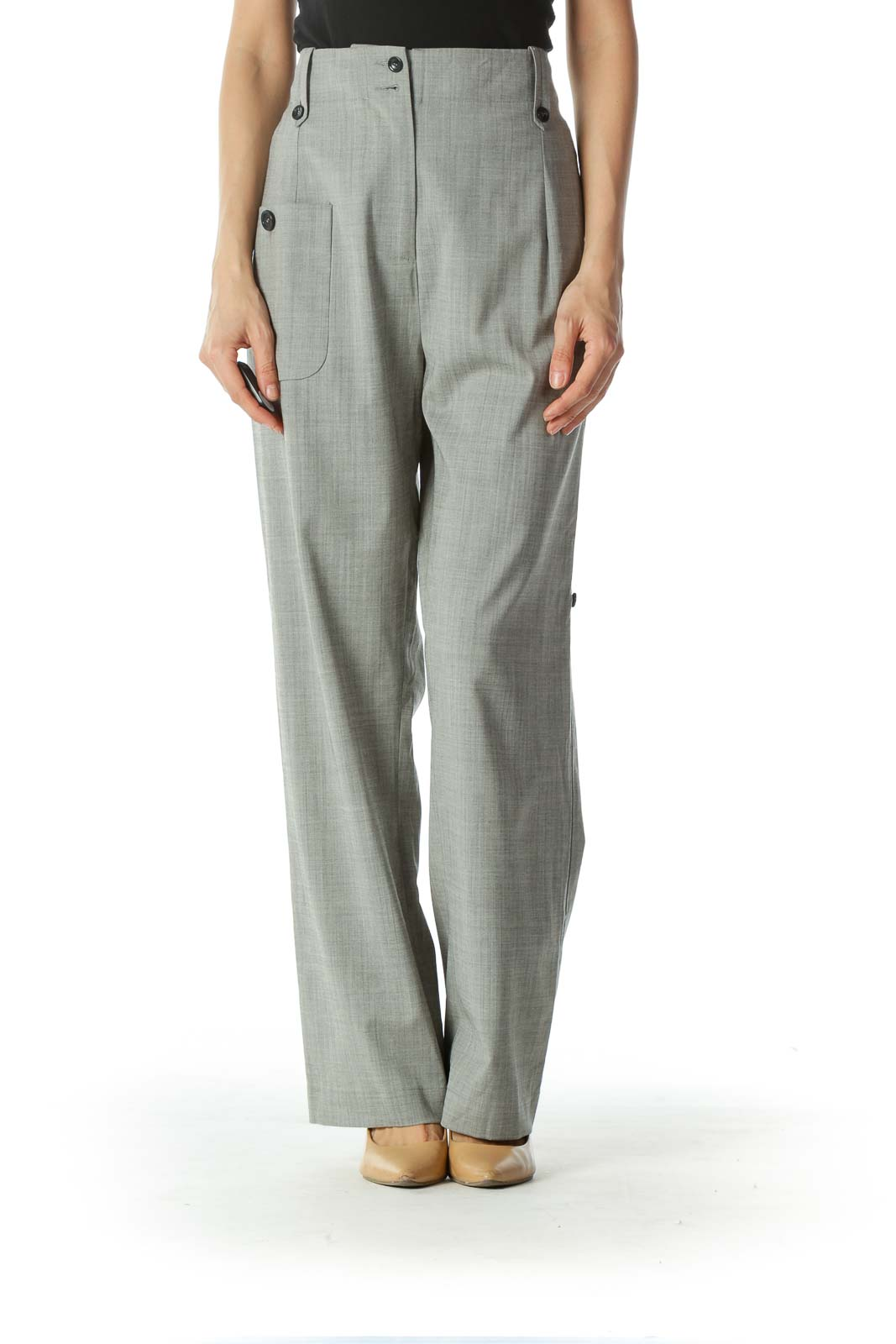 Gray High Waisted Wide Leg Pant