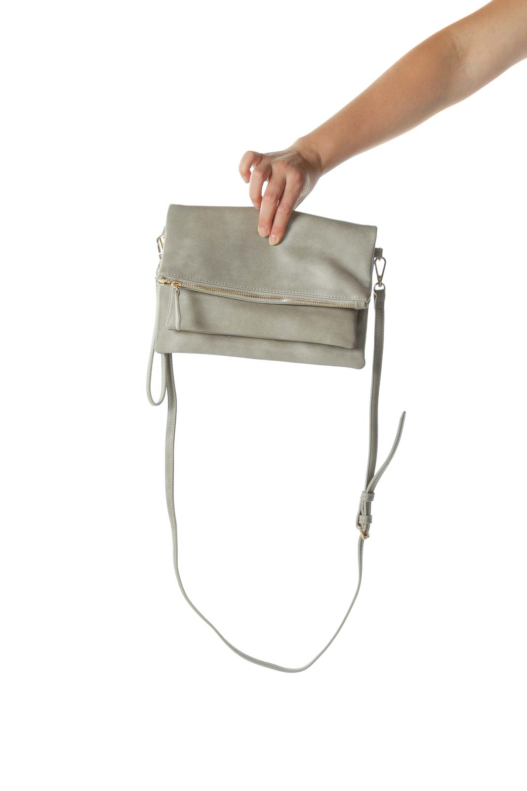 Gray Folded Cross-Body Bag with Adjustable Strap