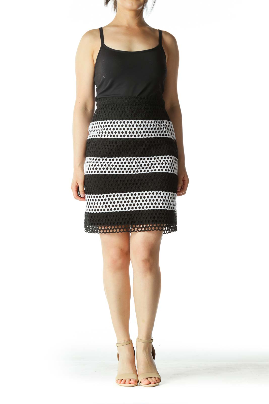Black and White Eyelet A-Line Skirt