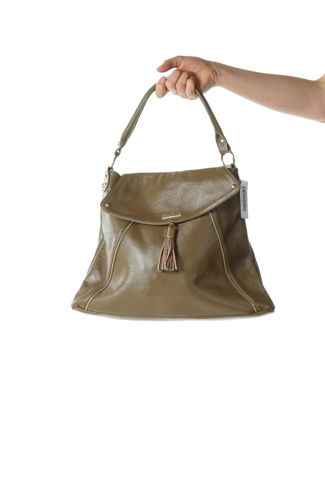 Olive Designer Tassel Shoulder Bag with Zipper and Hardware Embellishments
