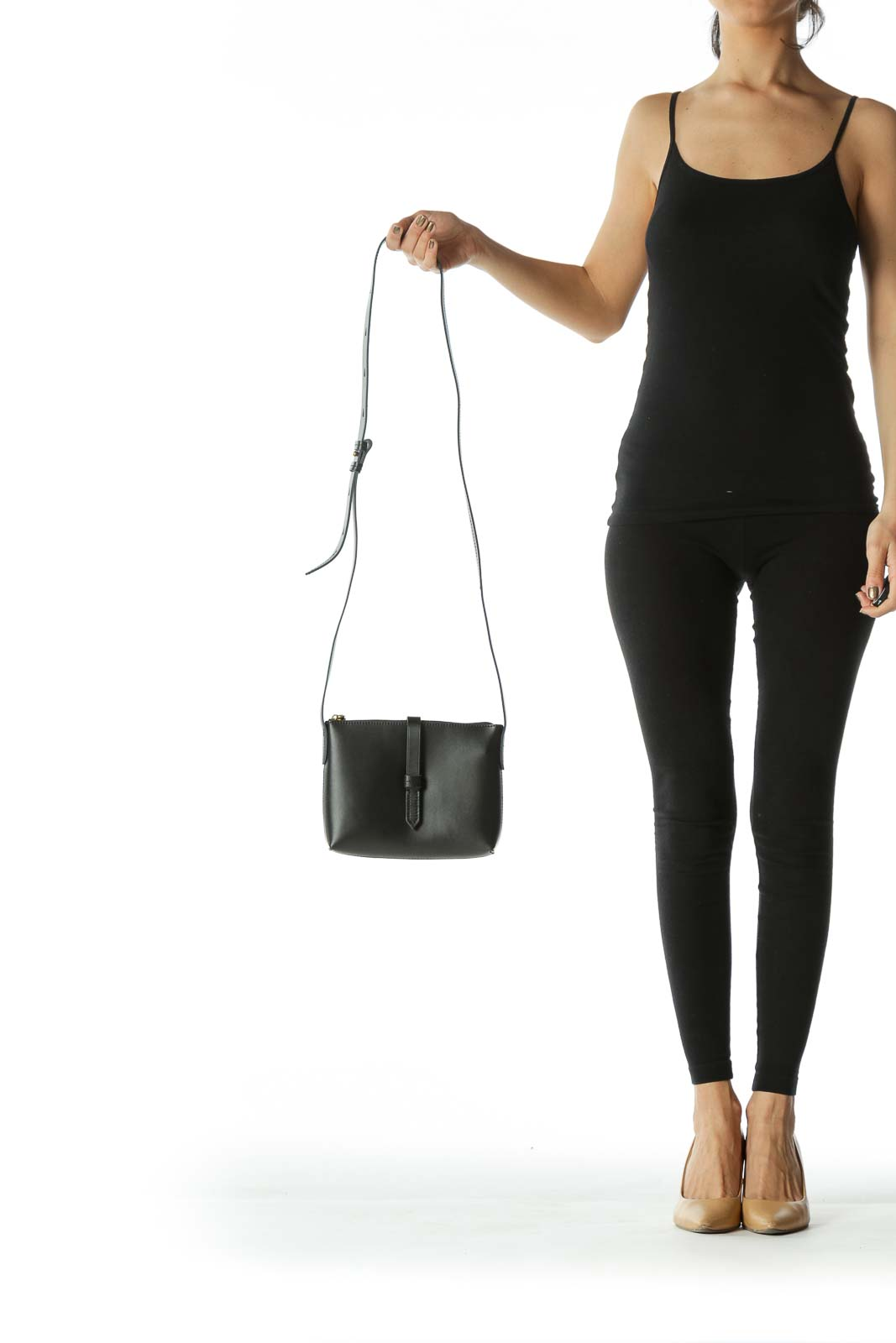 Black Adjustable Strap Faux-Leather Cross-Body Bag