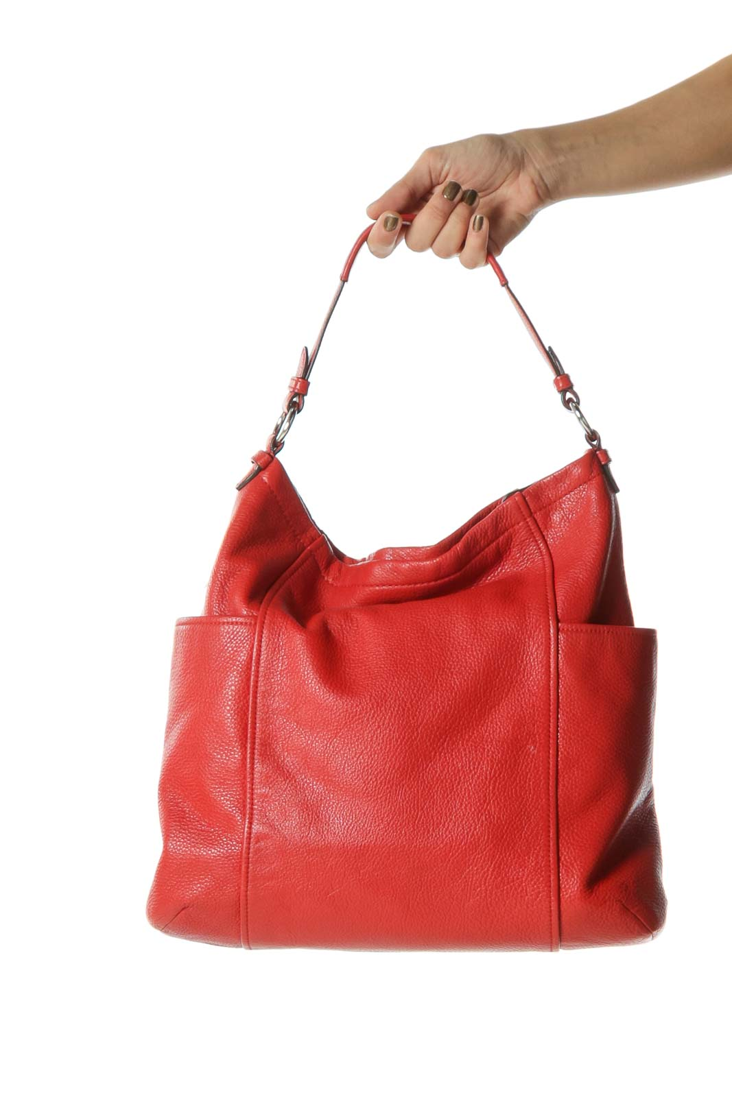 Bright Red Designer Tote with Exterior Pockets