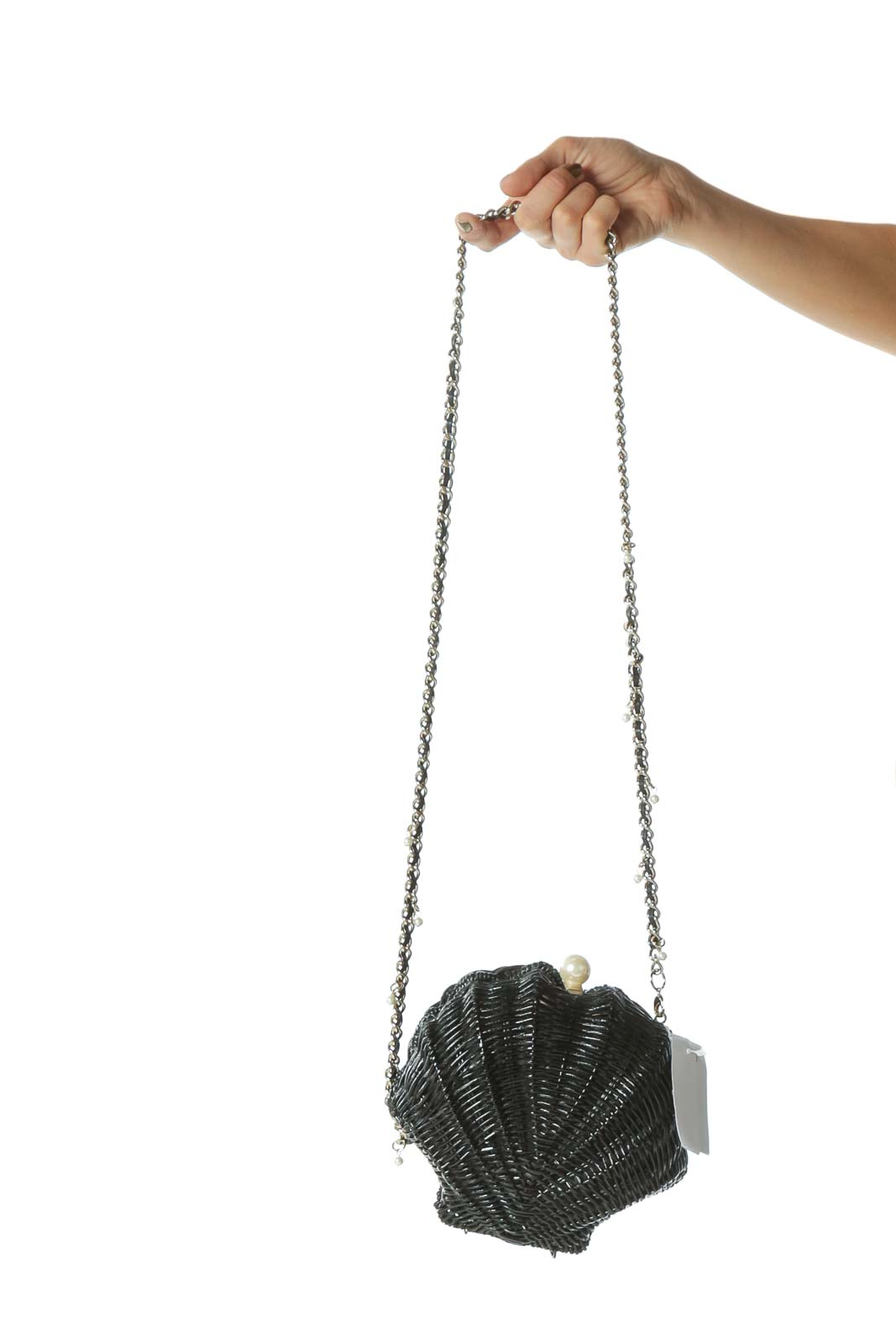 Black Designer Basket-Weave Pearl-Detail Seashell Cross-Body Bag