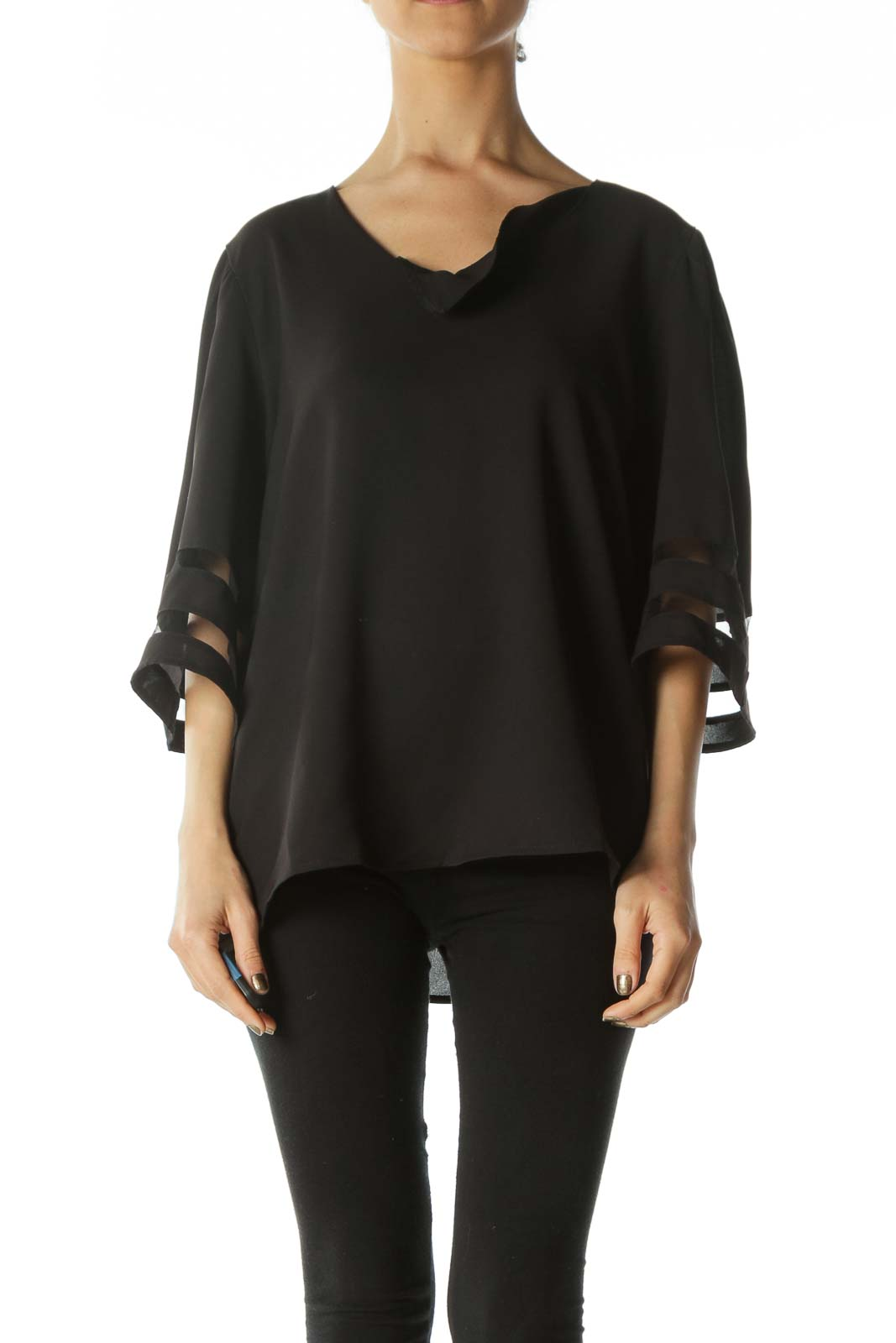 Black V-Neck Bell-Sleeve Lace-Piping Blouse