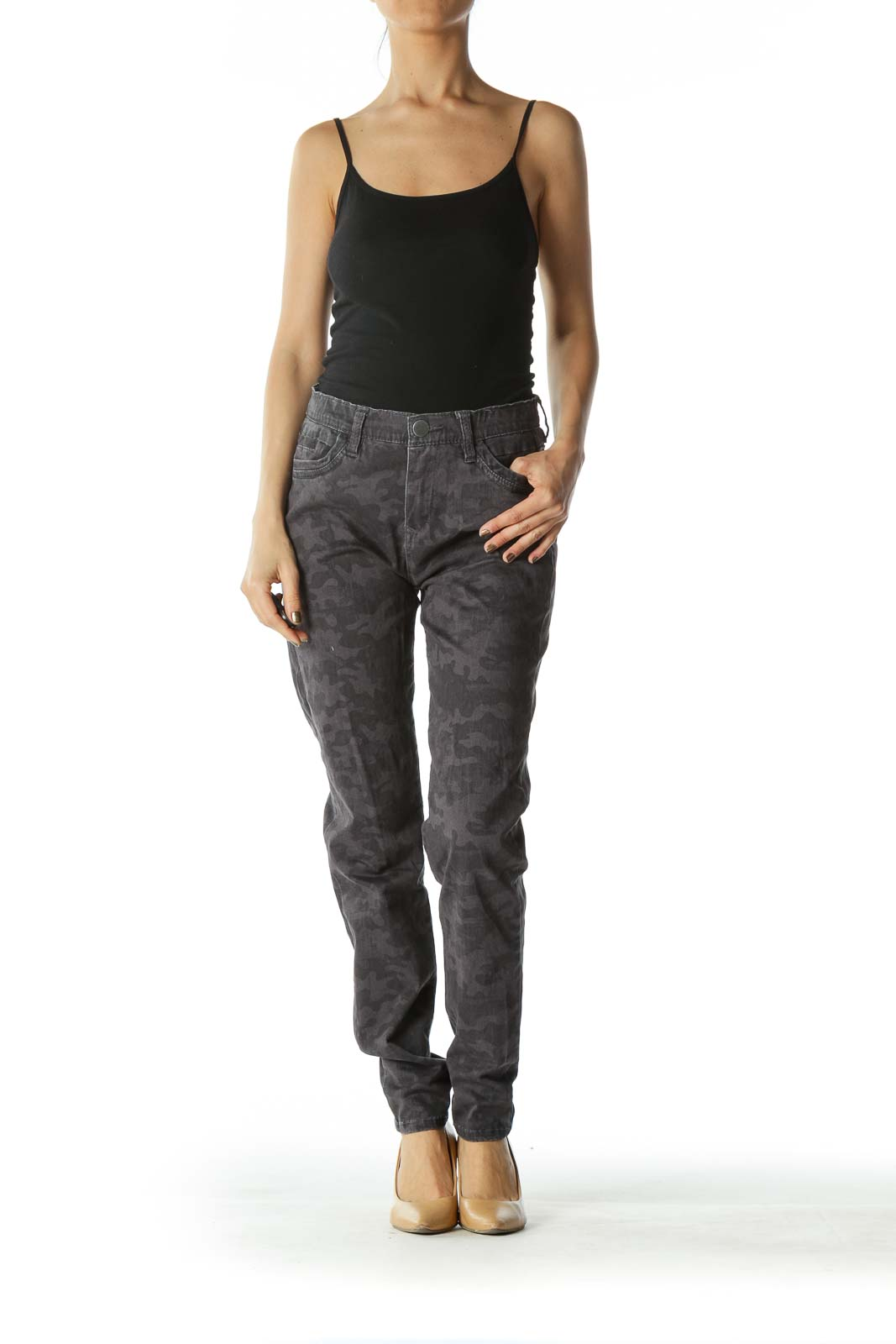 Black and Gray Faded Camouflage Skinny Pants