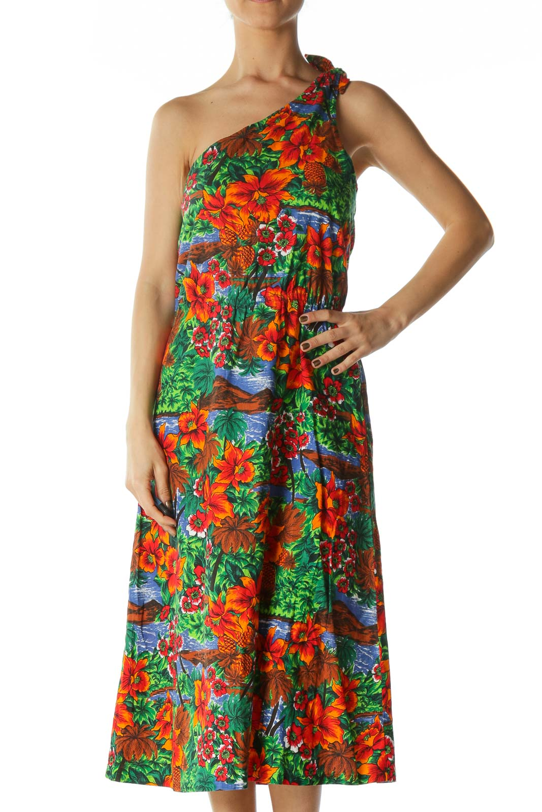 Multicolored Tropical-Print One-Shoulder Knot Day Dress