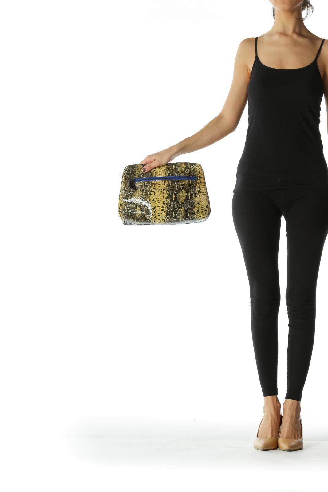 Black and Olive Alligator-Print Blue-Detailed Clutch