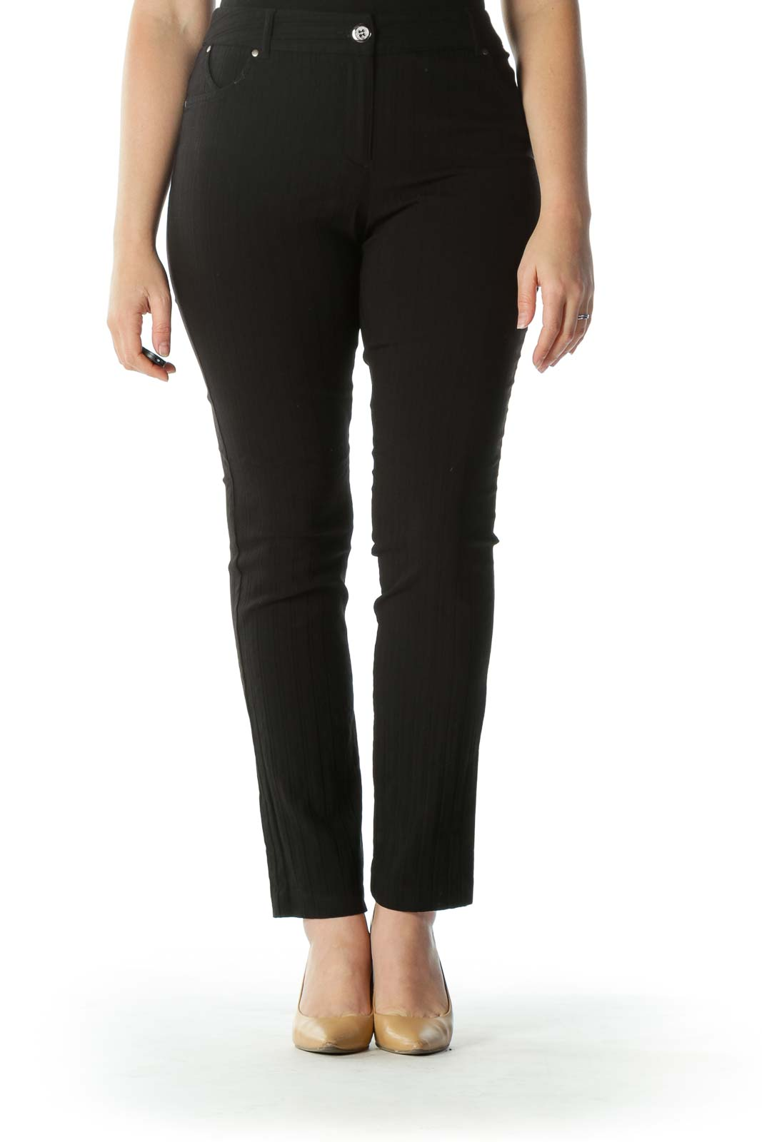 Black Textured Straight Leg Pant
