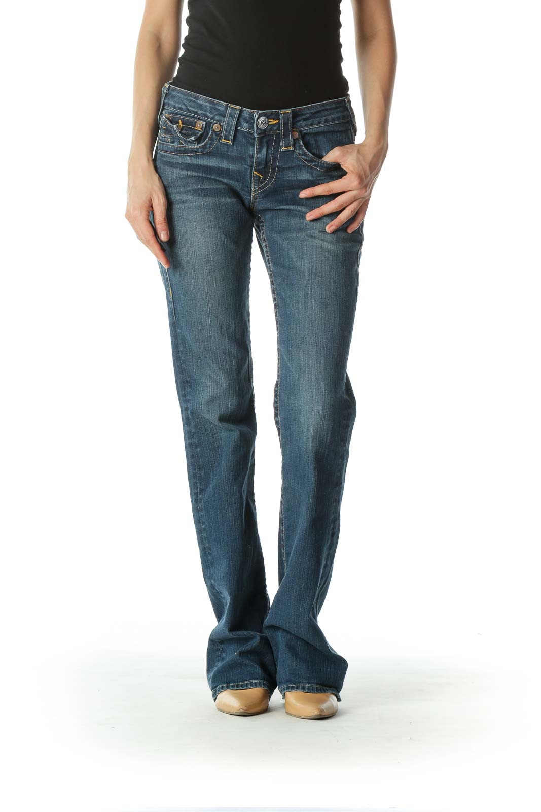 Blue Medium Wash Straight Leg Denim