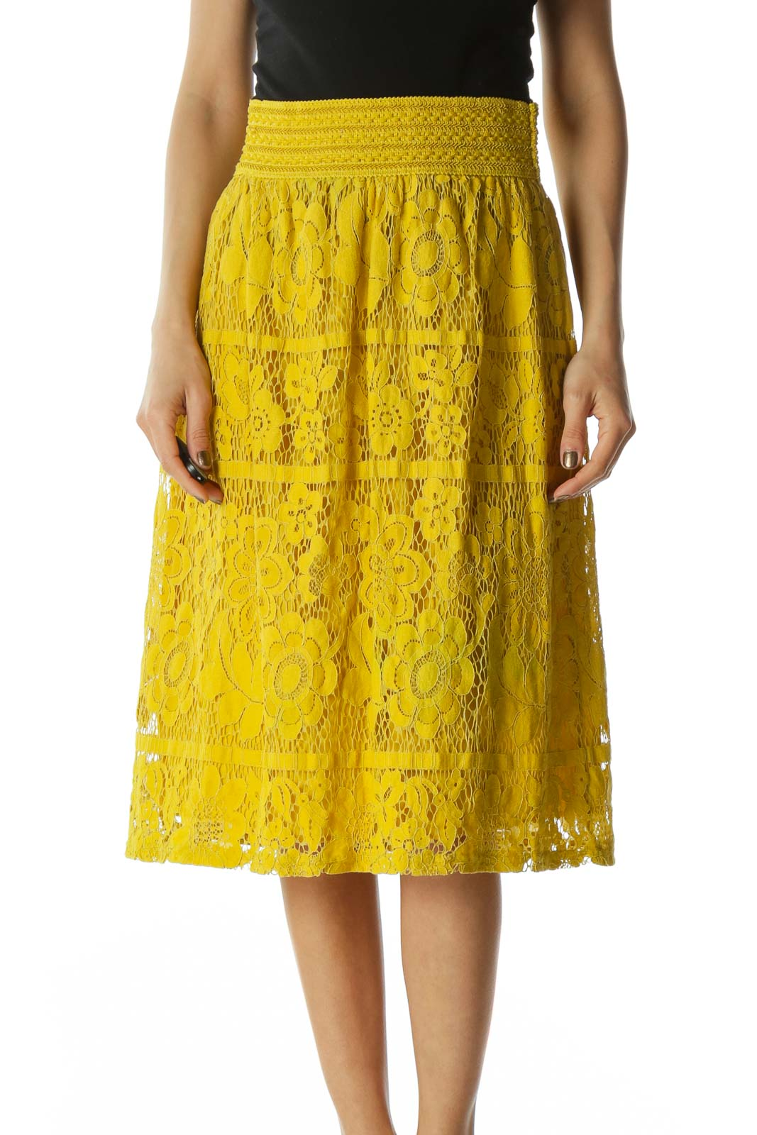 Yellow Crocheted Floral Print Skirt
