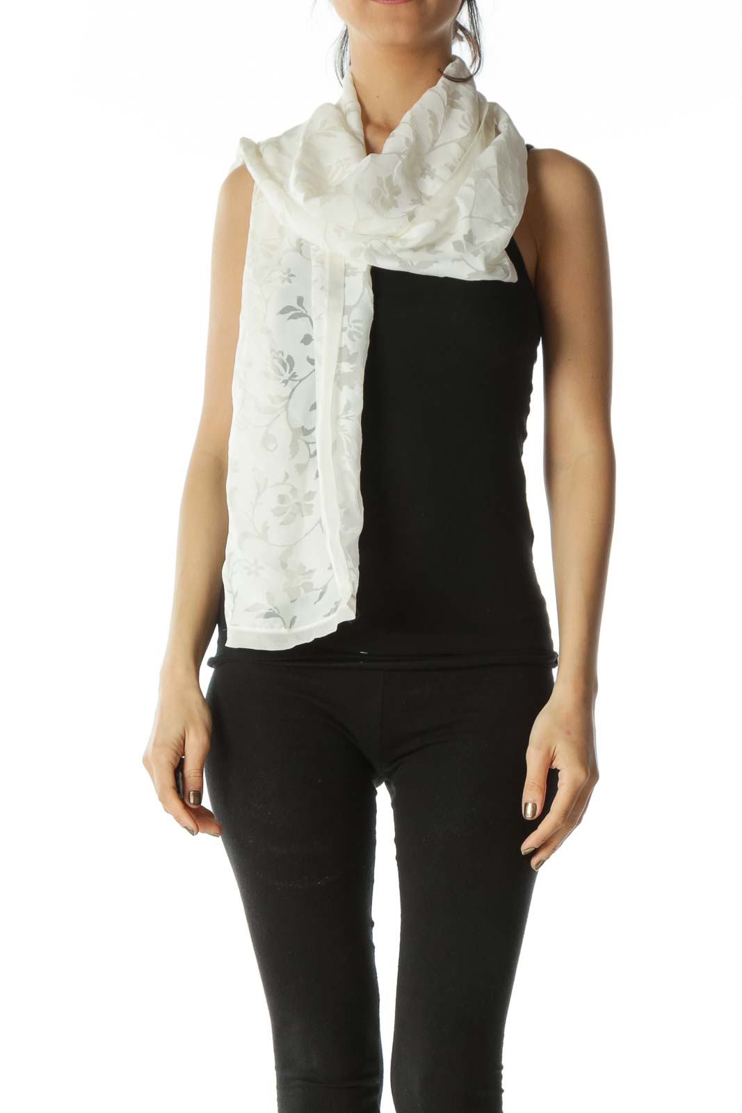 Cream Designer Silk Floral Scarf