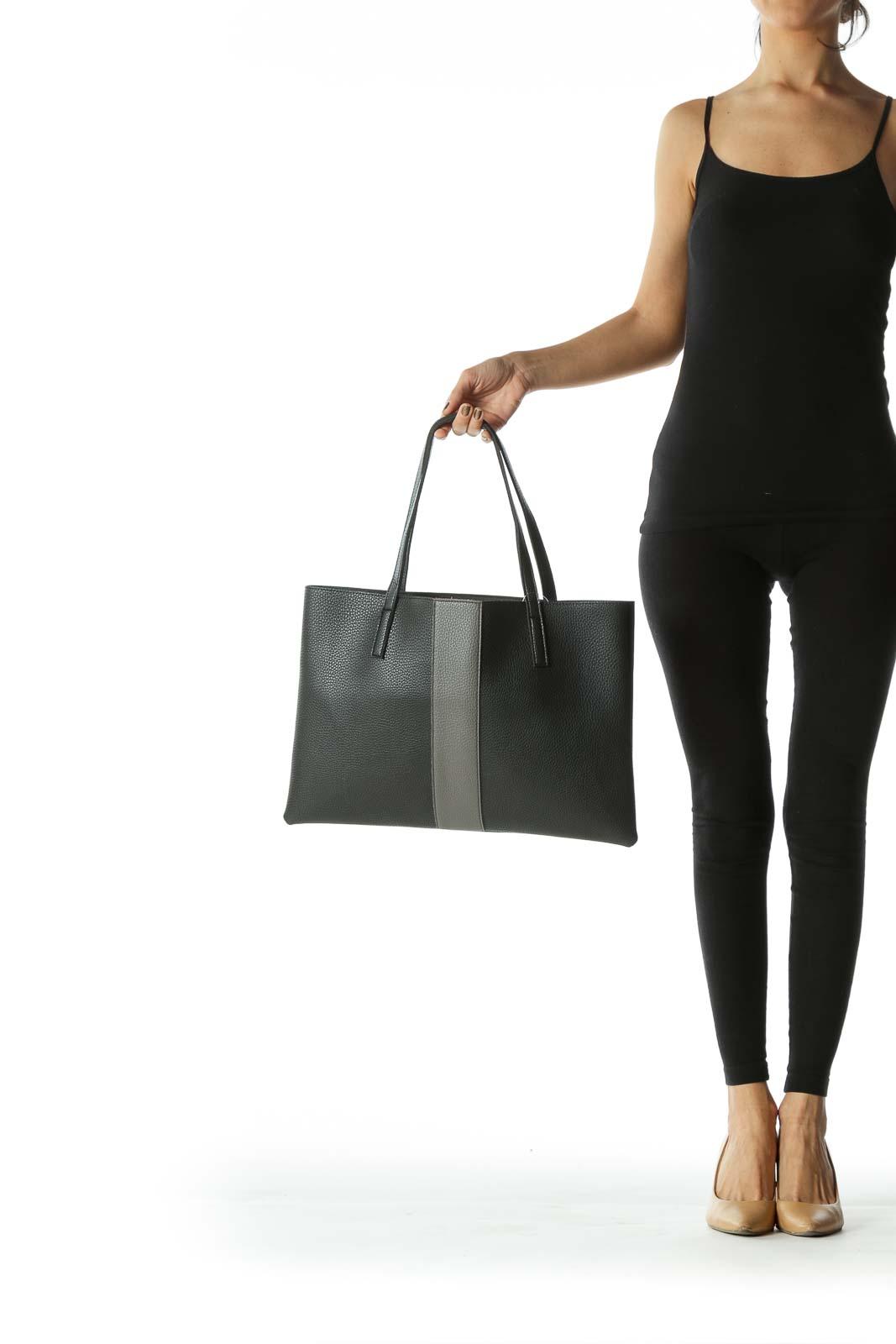 Black and Grey Color Block Light-Weight Shoulder Bag