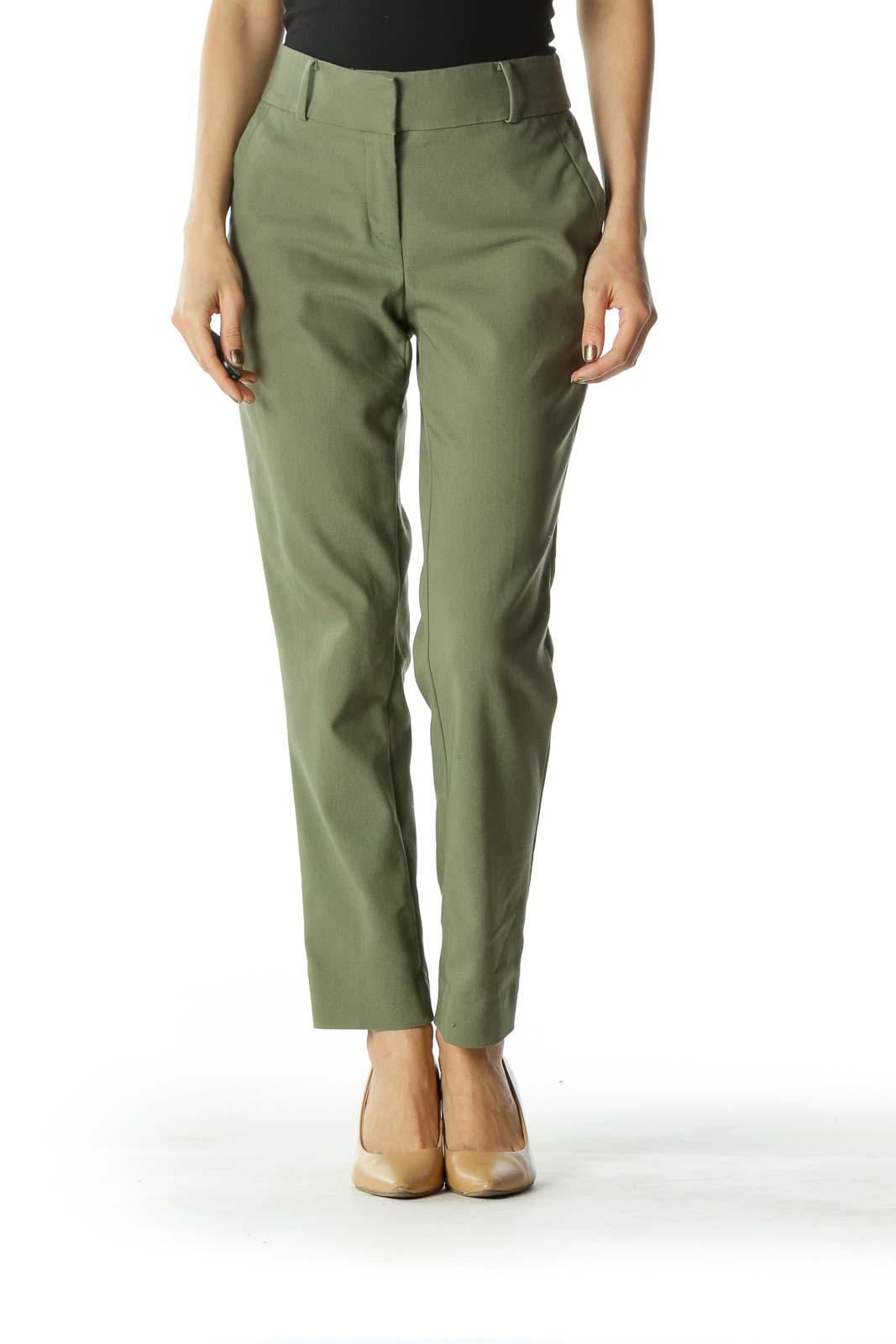 Green Slim Fit Capri Pant