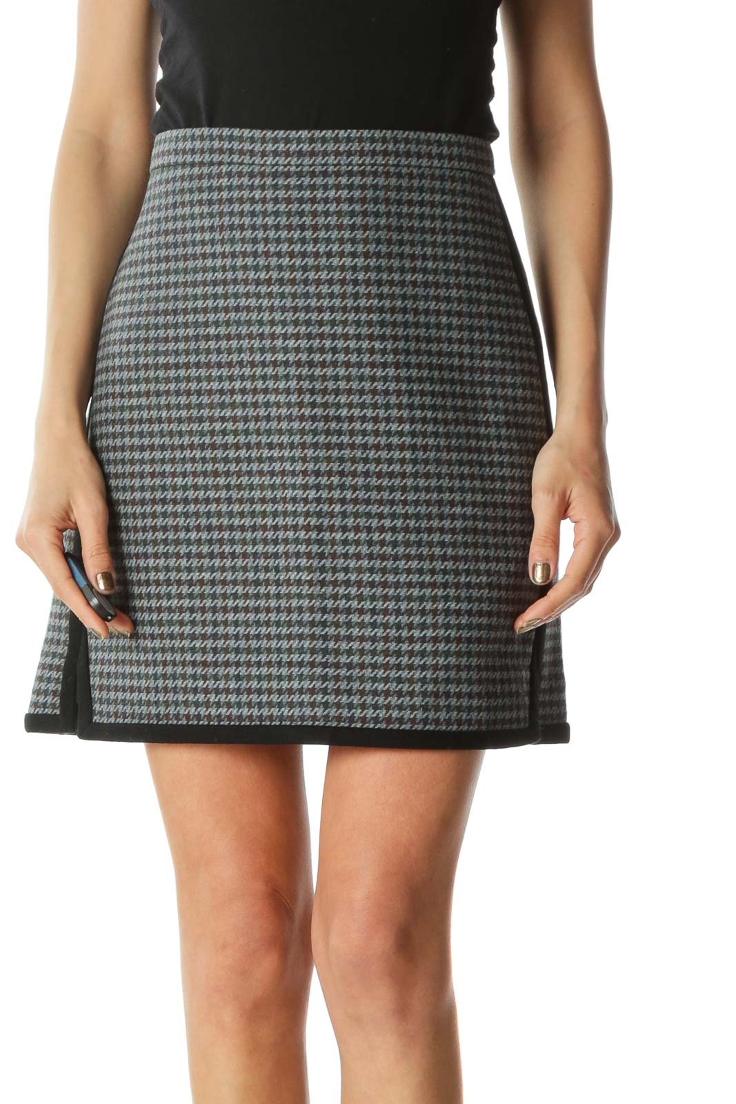 Multicolored Houndstooth Mini Skirt