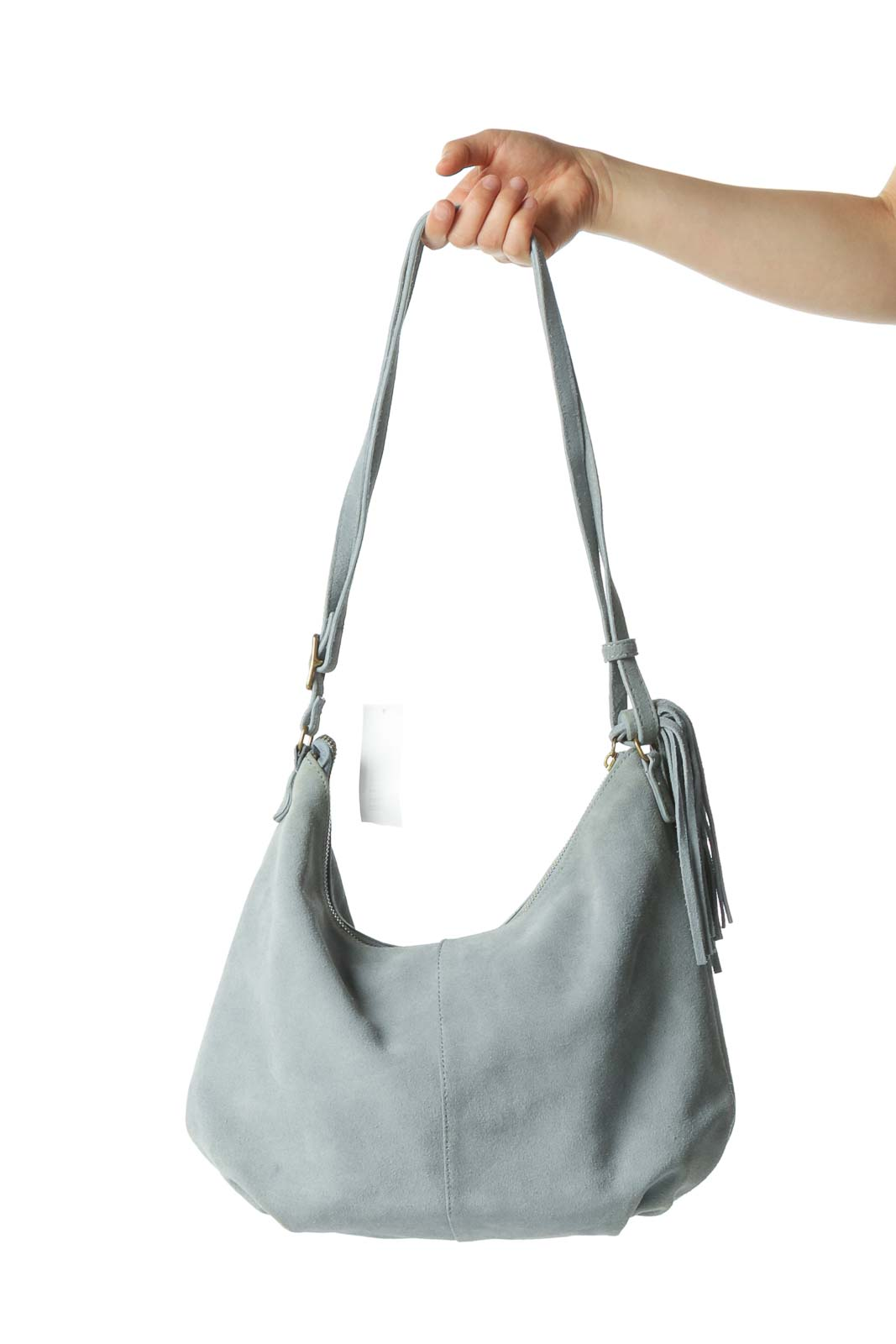 Light Blue Suede Shoulder Bag with Fringe Tassle