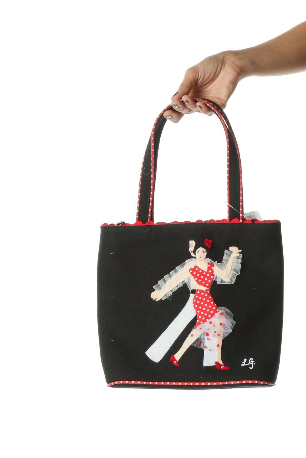 Black and Red Designer Dancing Applique Polka-Dot Trim Shoulder Tote
